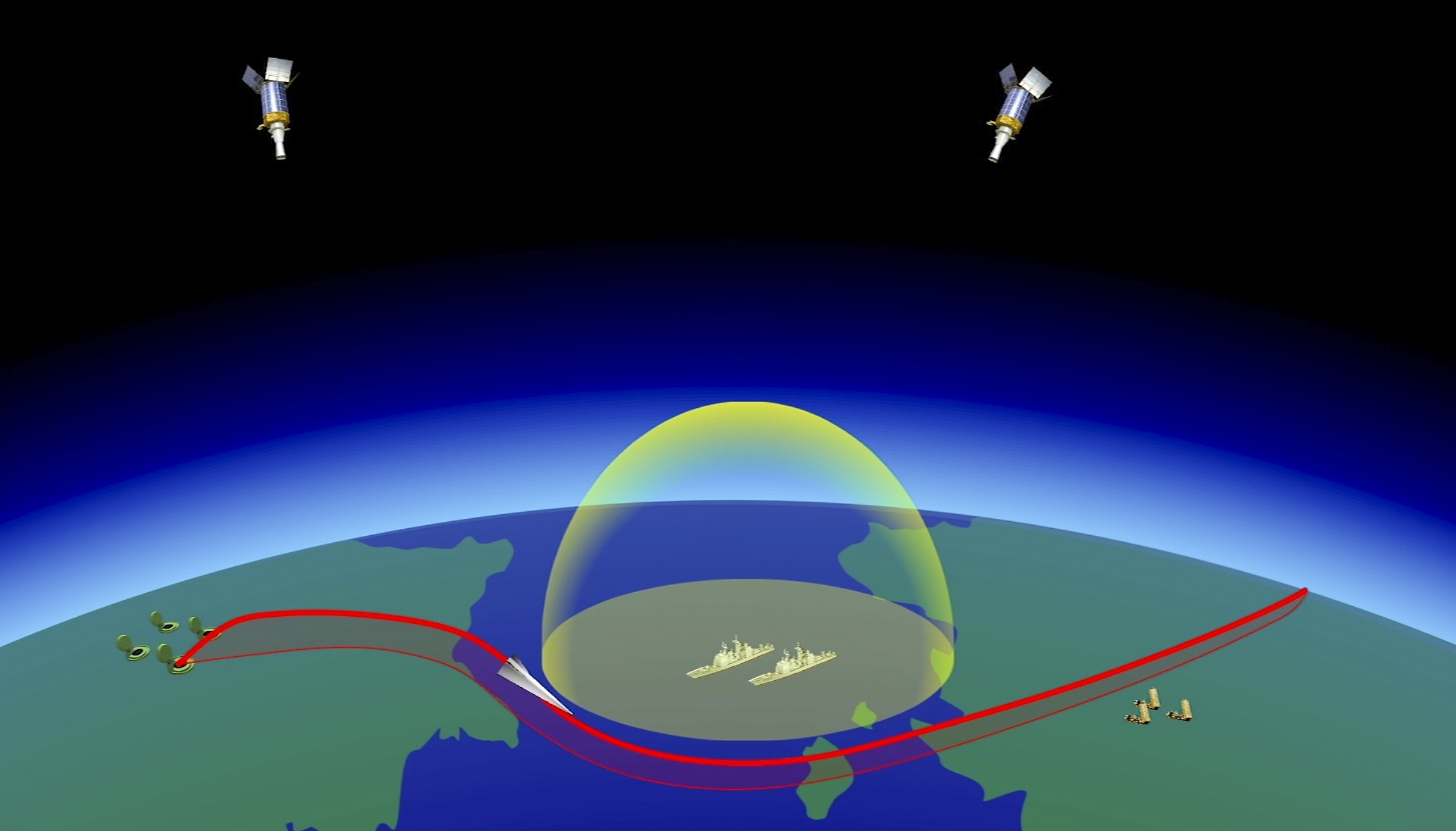 A computer simulation shows the Avangard hypersonic vehicle maneuvering to bypass missile defenses en route to target. (RU-RTR Russian Television via AP)