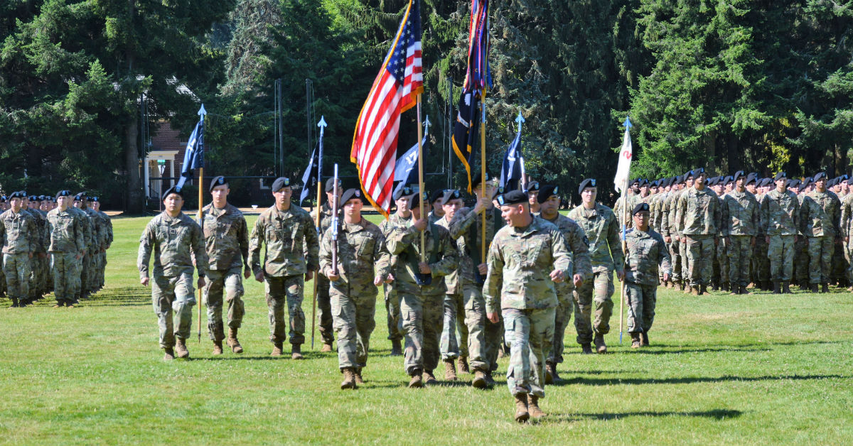 A soldier from 1st Battalion, 17th Infantry Regiment was found dead on Joint Base Lewis-McChord, Washington, on Thursday. Another soldier was found dead off post on Thursday as well. officials say the incidents are unrelated. The 1-17 is shown here during a change of command ceremony. (U.S. Army photo)