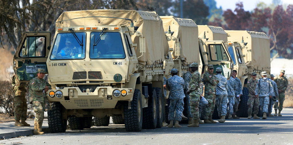 This Oct. 16, 2017, photo shows the California National Guard deployed near Santa Rosa, Calif. (Kent Porter/The Press Democrat via AP)