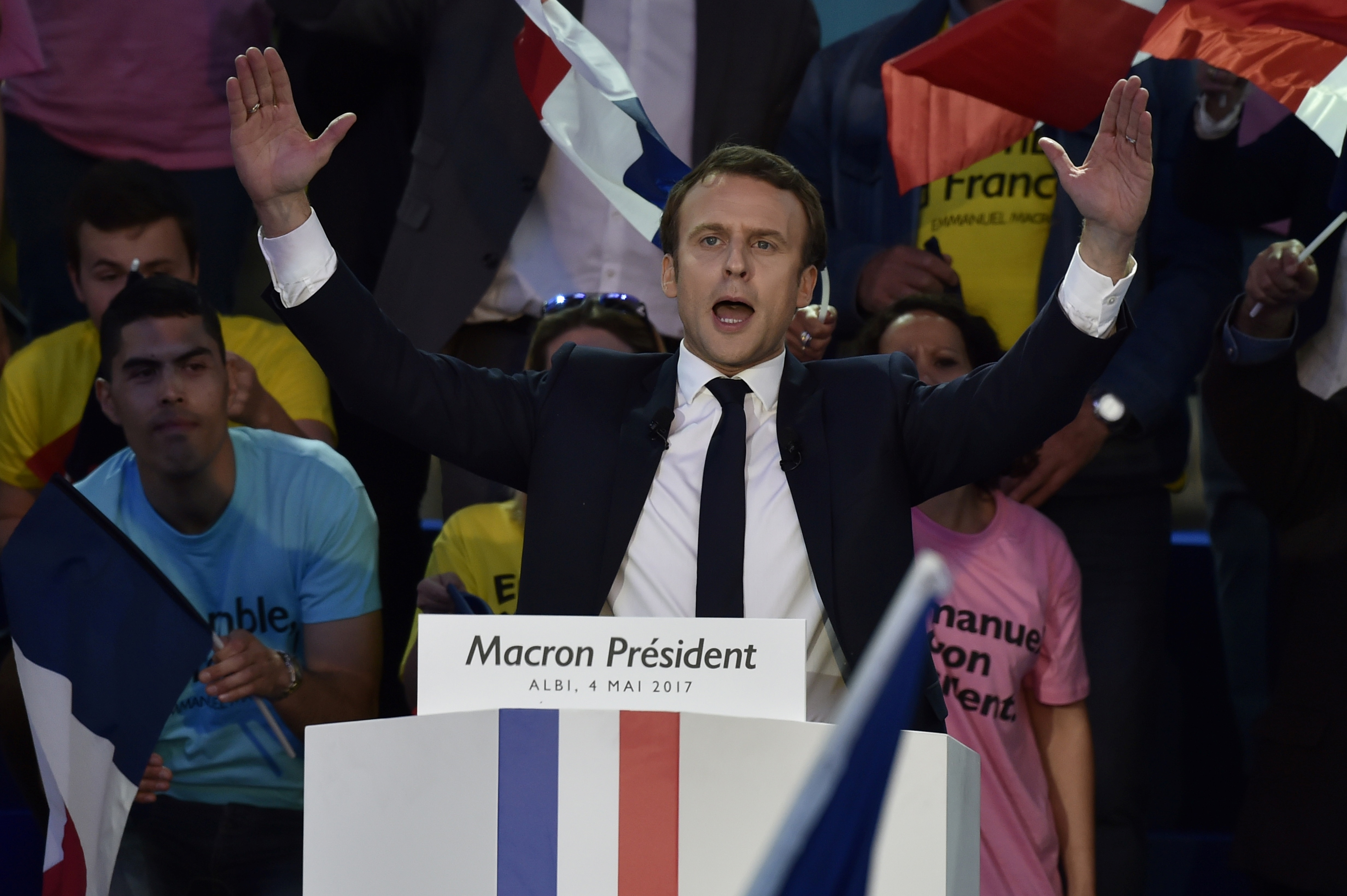 French presidential candidate Emmanuel Macron delivers a speech during a campaign meeting on May 4, 2017. (Pascal Pavani/AFP/Getty Images)
