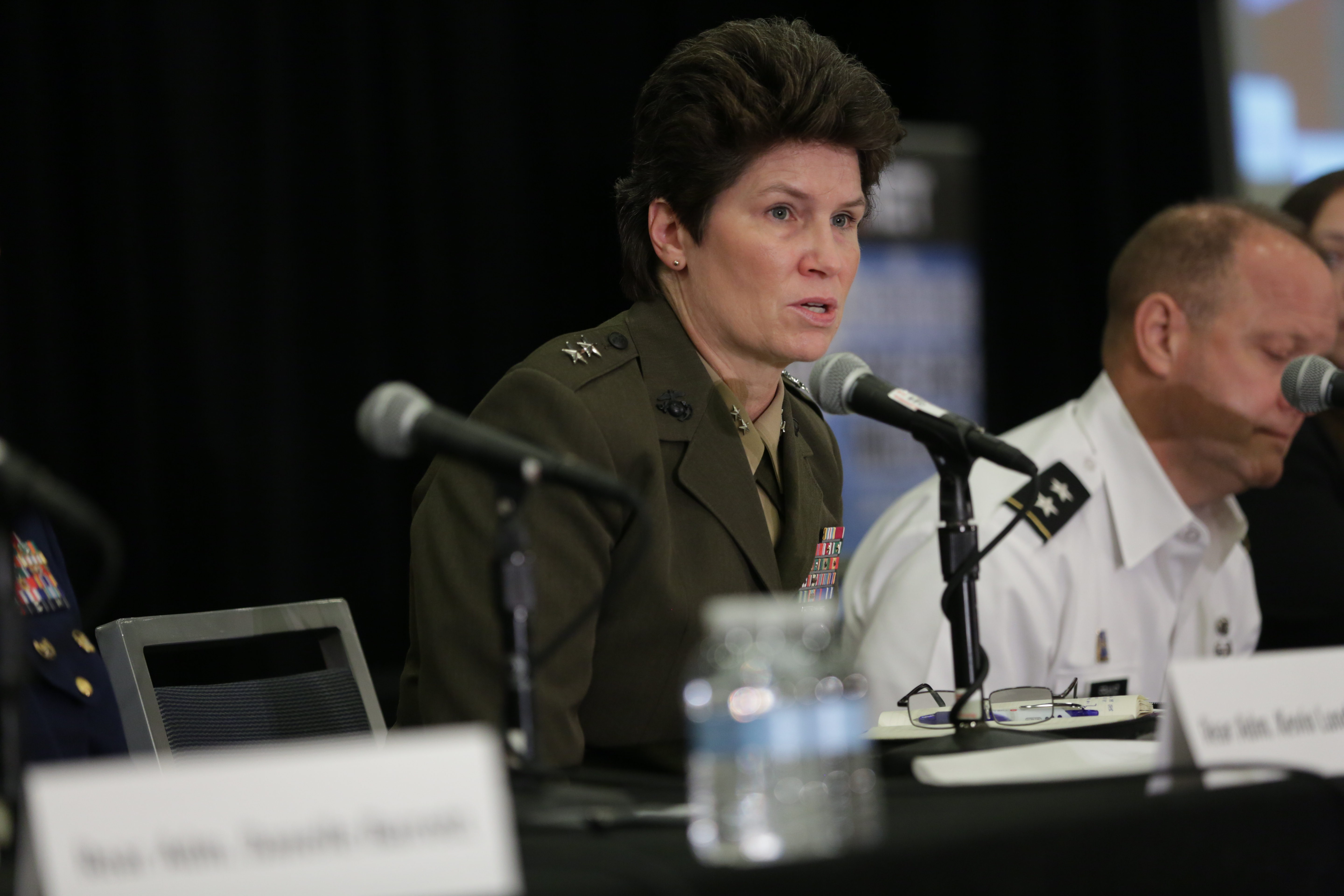 Maj. Gen. Lori Reynolds, speaking above at the 16th Annual C4ISRNET conference May 3, 2017, has been nominated to serve as the next deputy commandant for information. (Daniel Woolfolk/Staff)