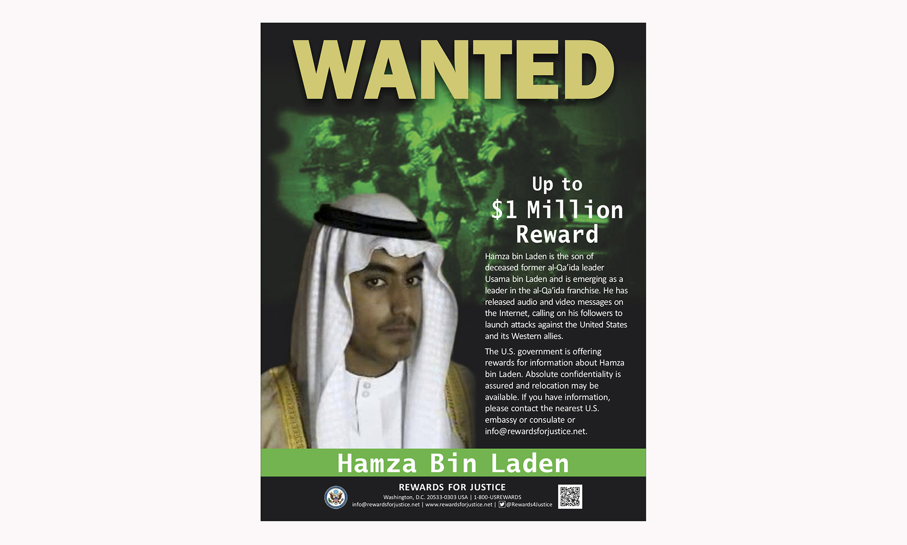 This wanted poster released by the U.S. Department of State Rewards for Justice program shows Hamza bin Laden. (U.S. Department of State Rewards for Justice via AP, File)