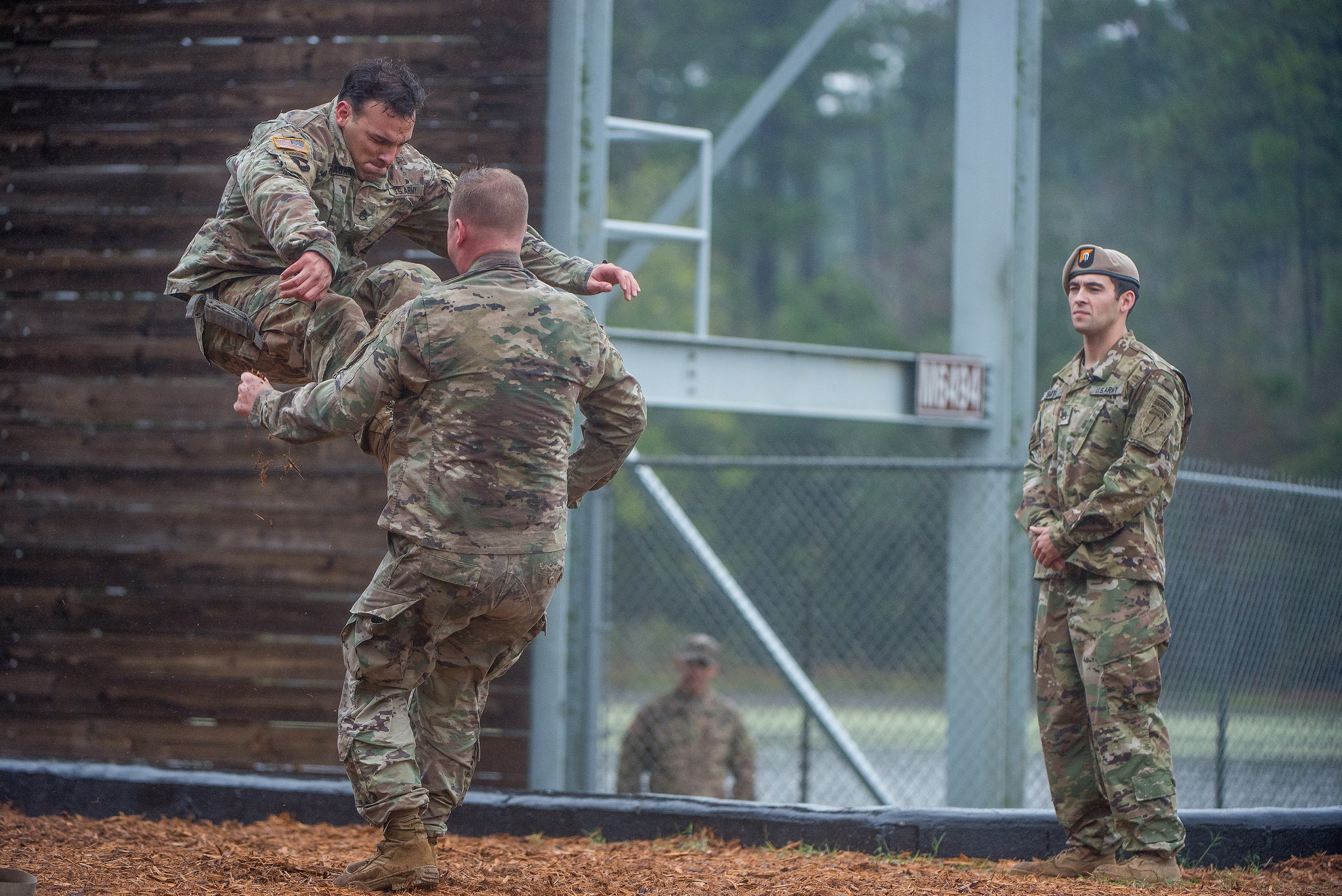 Soldiers conduct a combatives demonstration at the Airborne and Ranger Training Brigade ranger graduation at Fort Benning, Ga., Oct. 26, 2018. (Patrick A. Albright/Army)