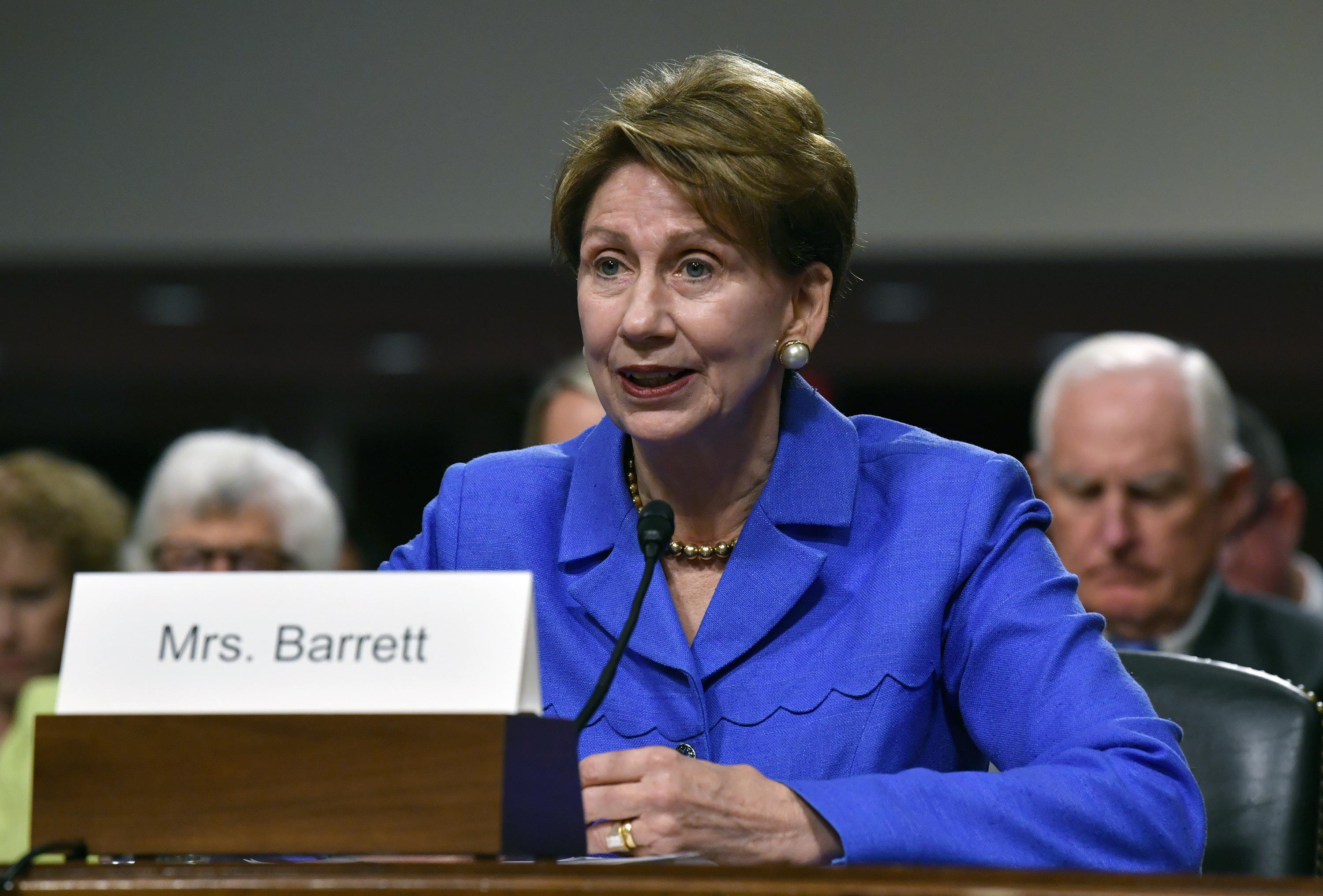 Sec. of the Air Force Barbara Barrett says that declassifying intelligence is key to combating the growing threat to the the nation's space capabilities, and the sooner the better. (Wayne Clark/U.S. Air Force)