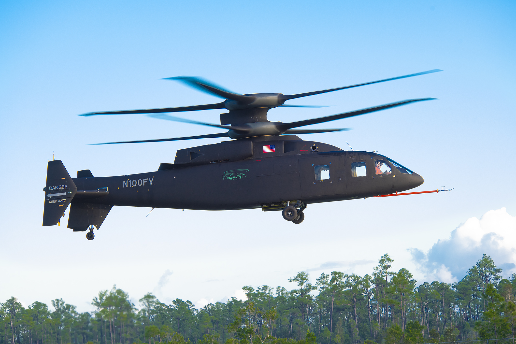 Sikorsky-Boeing's SB-1 Defiant coaxial technology demonstrator for the Army's Joint Multi-Role Technology Demonstrator program has flown more than 100 knots as of Jan. 13 in its flight test program at Sikorsky's facility in West Palm Beach, Fla. (Courtesy of Lockheed Martin)