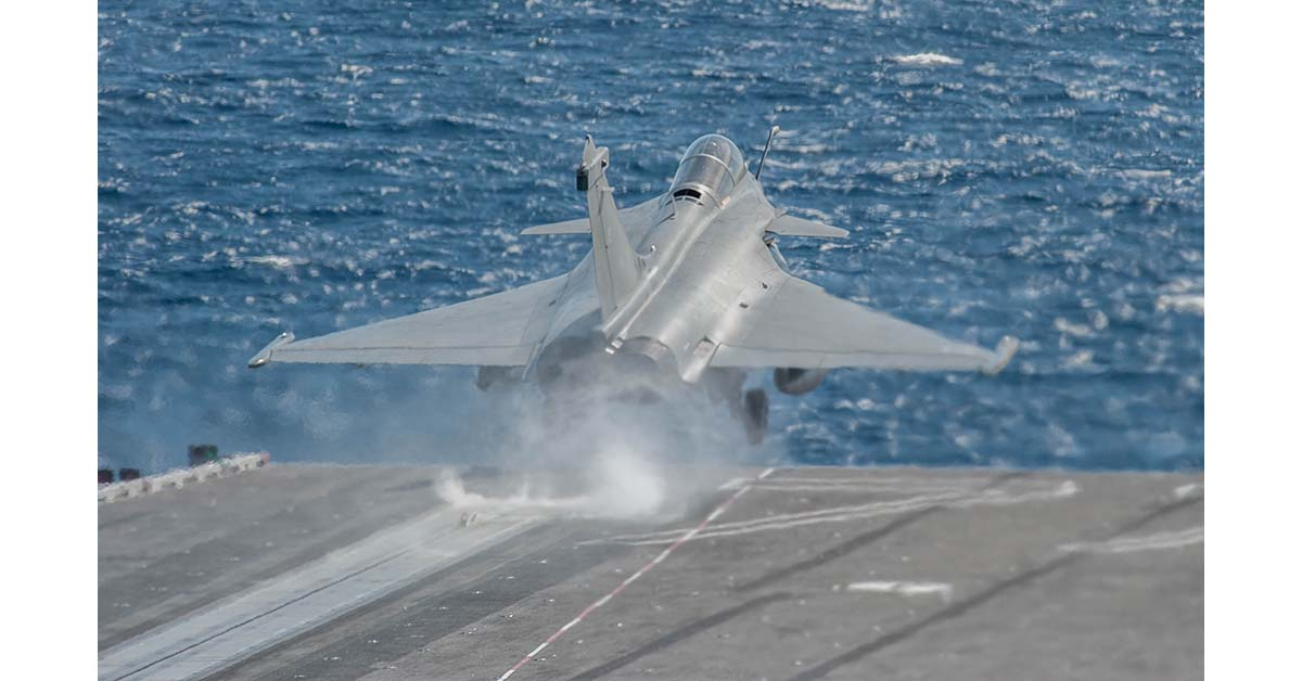 A French Navy Rafale Marine fighter aircraft launches from catapult 2 onboard the aircraft carrier George H. W. Bush on May 10, 2018, during joint US and French carrier flight operations May 10. (Mark D. Faram/Staff)