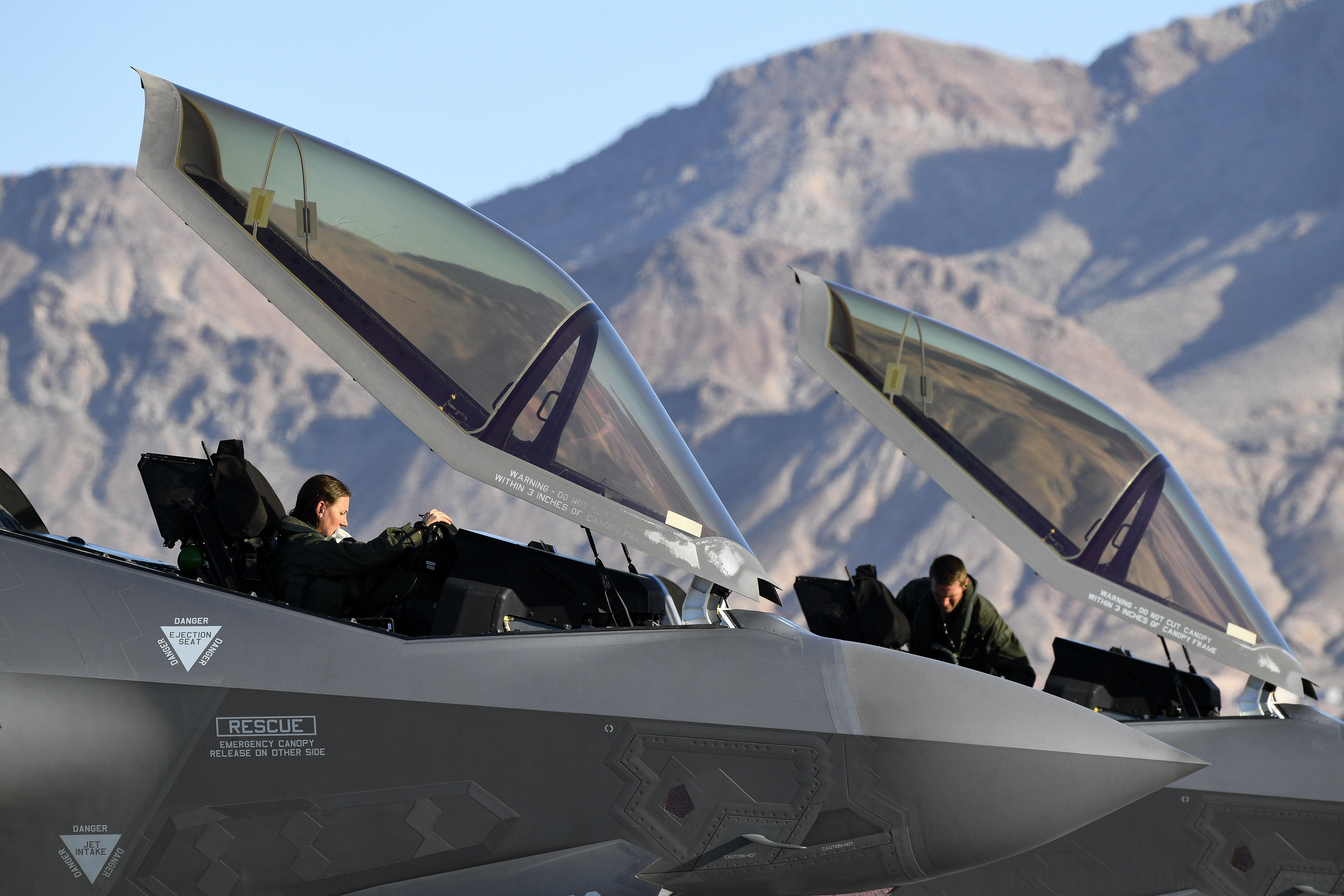 F-35A Lightning II pilots return after flying a sortie during exercise Red Flag 20-1 at Nellis Air Force Base, Nev., Feb. 3, 2020. Red Flag is the Air Force's premiere large-scale combat exercise. (R. Nial Bradshaw/Air Force)