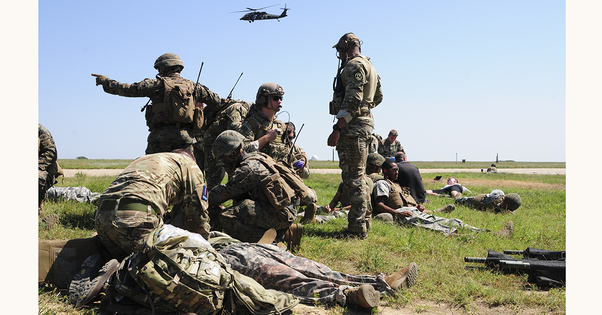 The Air Force, Marine Corps and British soldiers conduct Exercise Black Lion and Caduceus in support of Atlantic Resolve, an enduring training exercise between NATO and U.S. Forces at Mihail Kogalniceanu Air Base in Romania, August 16, 2018. U.S. and NATO forces worked together as a cohesive unit to execute a downed aircraft search and rescue mission. (Spc. Hannah Tarkelly/Army)