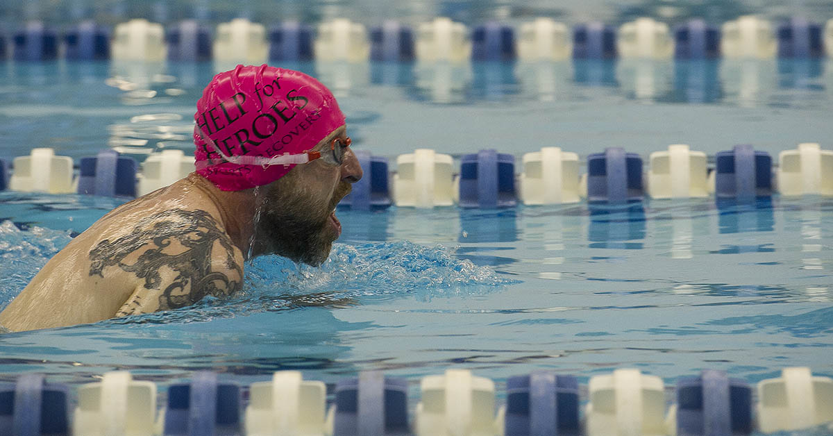Team United Kingdom member David Rose competes in the 50-meter breaststroke event at the DoD Warrior Games, June 8, 2018. (Master Sgt. Stephen D. Schester/DoD))