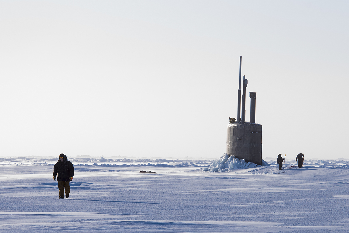 The Seawolf-class fast-attack submarine USS Connecticut (SSN 22) breaks though the ice in the Beaufort Sea in support of Ice Exercise (ICEX) 2018. The five-week exercise that allows the U.S. Navy to assess its operational readiness in the Arctic, increase experience in the region, advance understanding of the Arctic environment and continue to develop relationships with other services, allies and partner organizations. (MC2 Micheal H. Lee/Navy)