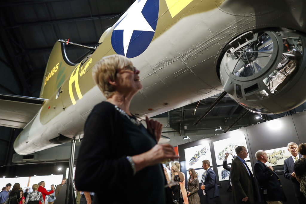 Visitors gather for a private viewing of the Memphis Belle, a Boeing B-17