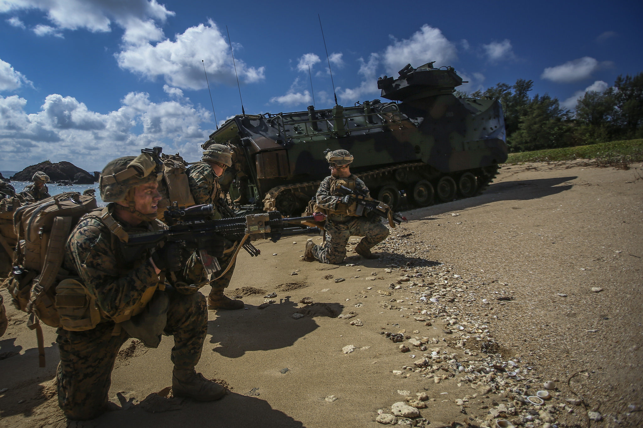 U.S. Marines assigned to Alpha Company, 1st Battalion, 3rd Marine Regiment conduct and amphibious landing during Blue Chromite 18, aboard Kin Blue Beach, Okinawa, Japan, Nov 2, 2017. (Sgt. Aaron S. Patterson/Marine Corps)
