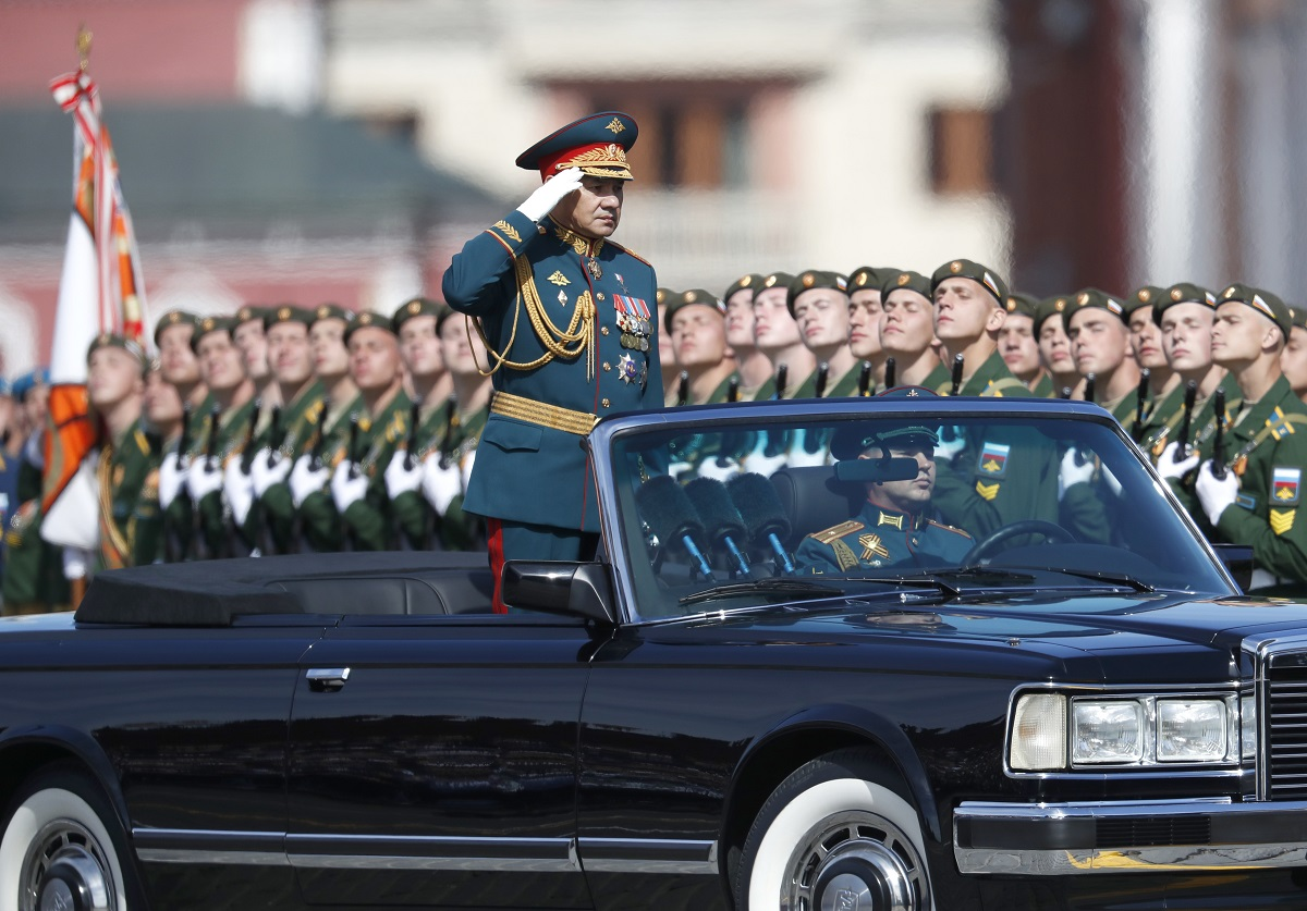 Russian Defence Minister Sergei Shoigu salutes as he inspects the troops during the Victory Day military parade to celebrate 73 years since the end of World War II and the defeat of Nazi Germany, on May 9, 2018. (Pavel Golovkin/AP)