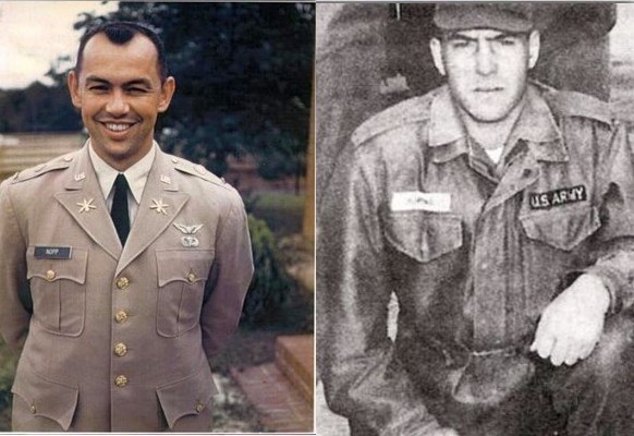 Army Lt. Col. Robert G. Nopp, left, and Army Staff Sgt. Marshall Kipina went missing on July 13, 1966 when their aircraft went missing over Laos while they were on a night surveillance mission. The remains of the pilot and observer have been recovered and will be buried in Arlington National Cemetery.