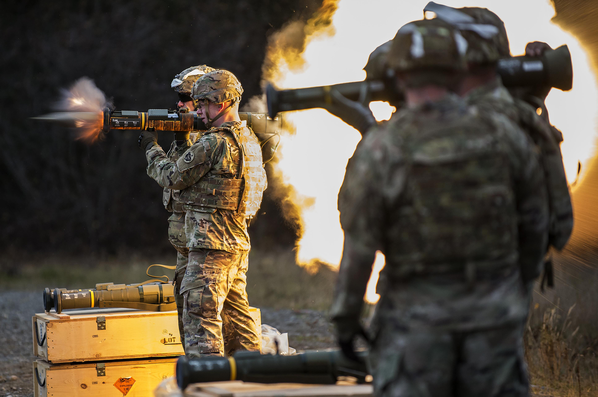 Army 1st Lt. Gerard Holodak, assigned to the 109th Transportation Company, 17th Combat Sustainment Support Battalion, U.S. Army Alaska, fires the M136E1 AT4-CS confined space light anti-armor weapon at Joint Base Elmendorf-Richardson. (Staff Sgt. Westin Warburton/Army)
