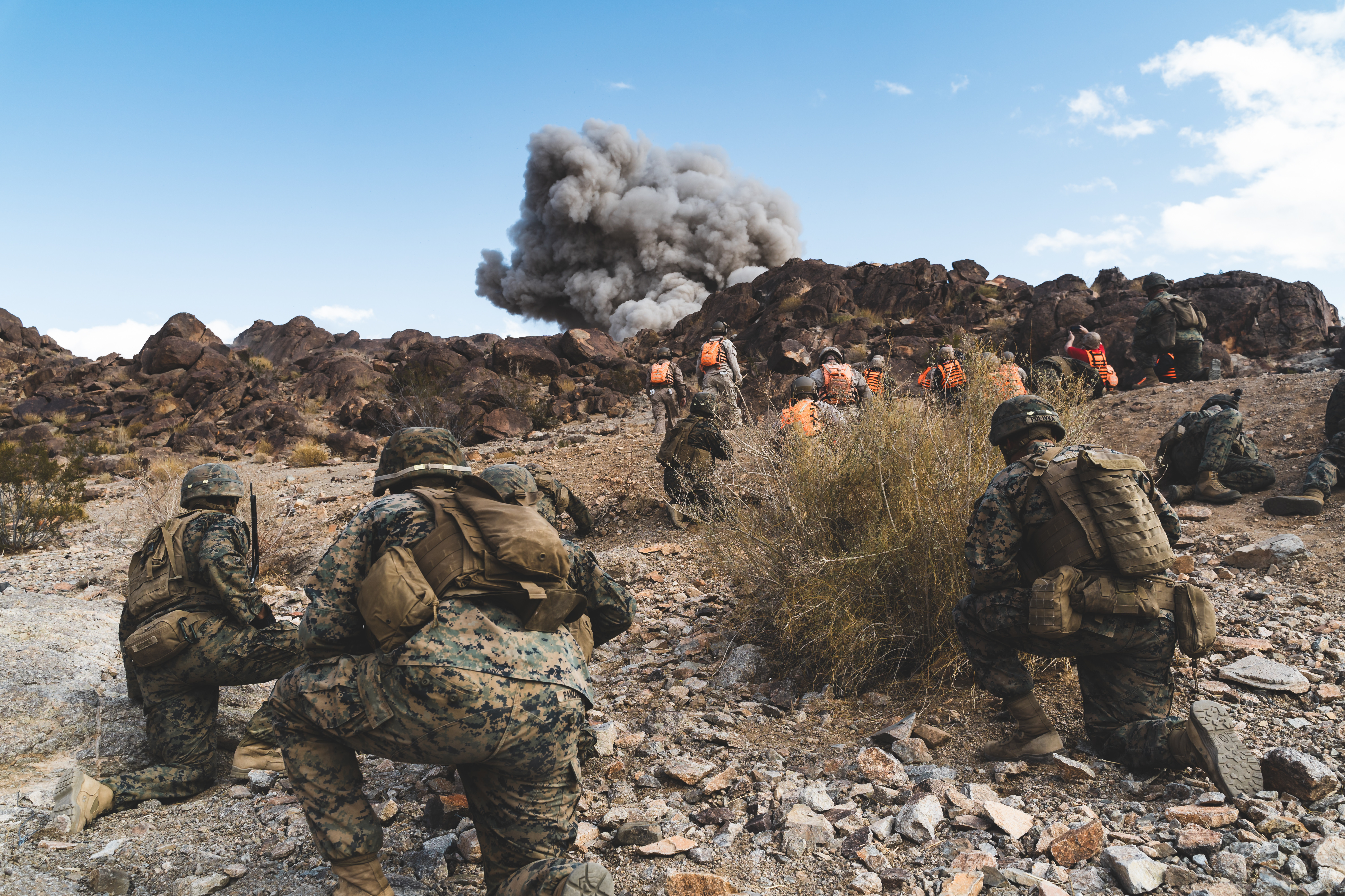 U.S. Marines detonate obstacle-breaching Bangalore torpedoes during a live-fire and maneuver exercise at the company assault course, Range 400, Marine Corps Air Ground Combat Center, Twentynine Palms, Calif., Nov. 20, 2019. (Lance Cpl. Colton Brownlee/Marine Corps)