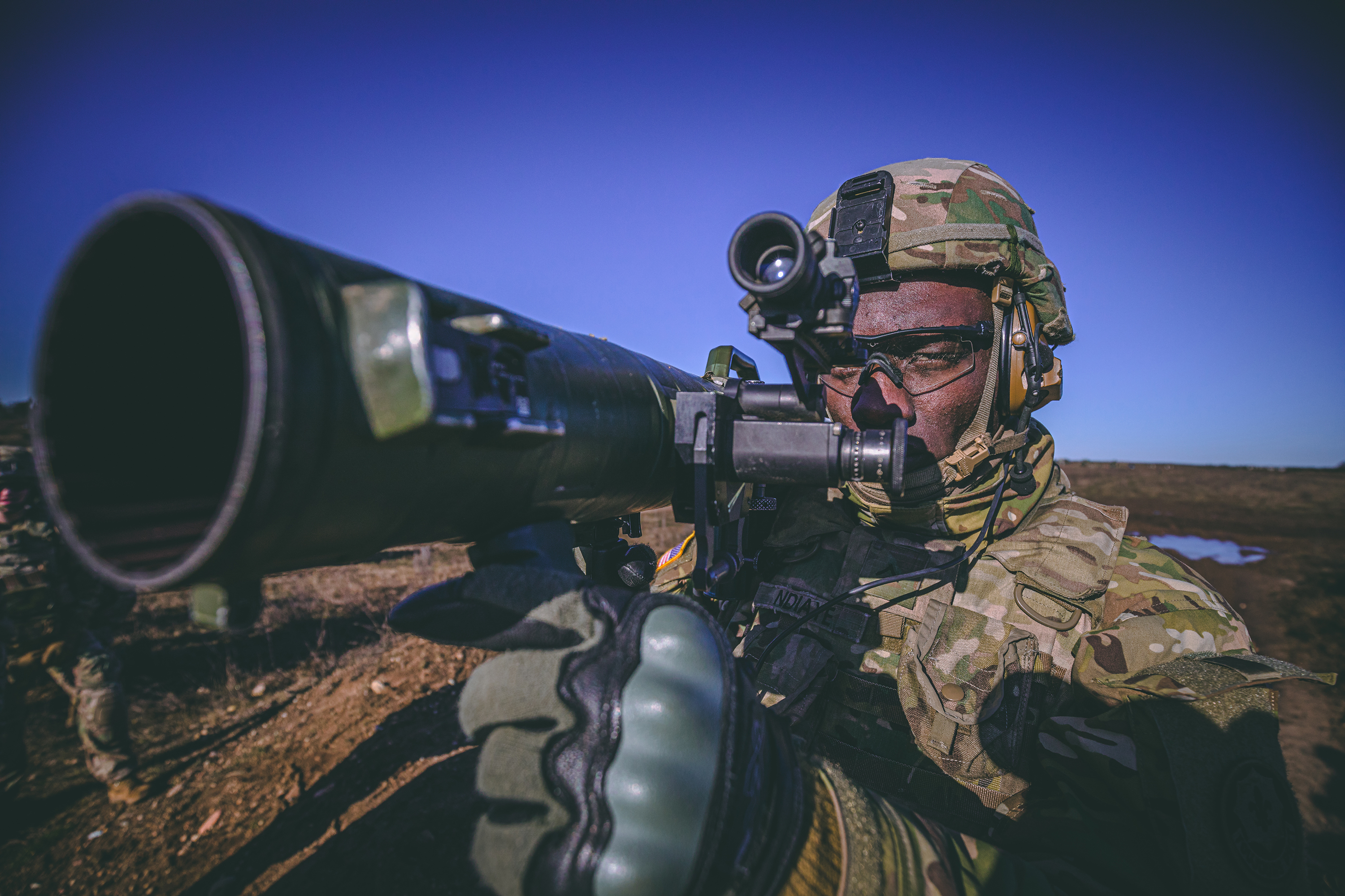 A U.S. soldier prepares to fire an M3 Carl Gustaf 84mm recoiless rifle on Jan. 31, 2020, during an anti-tank training course in support of NATO's enhanced Forward Presence Battle Group Poland in Bemowo Piskie, Poland. (Sgt. Timothy Hamlin/Army)