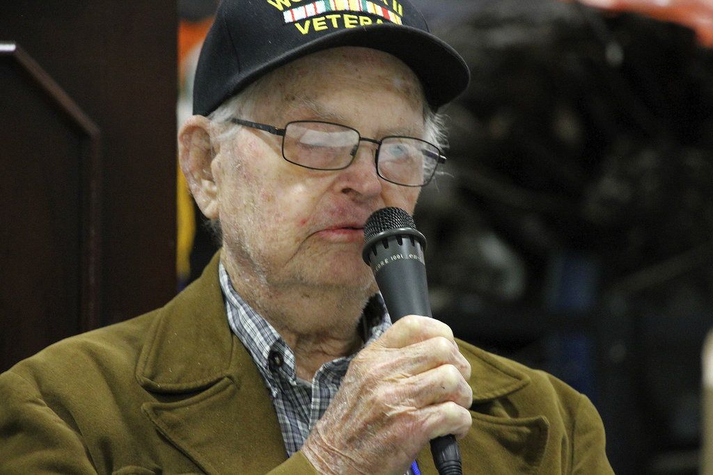 In this May 19, 2018, photo World War II veteran William Roy Dover, of Haleyville, Ala., speaks at a 75th anniversary celebration of the Battle of Attu in Anchorage, Alaska. Dover was an American soldier who took part in the May 1943 effort to reclaim Alaska's Attu Island from the Japanese. It was the only World War II battle fought on North American soil. (Mark Thiessen/AP)