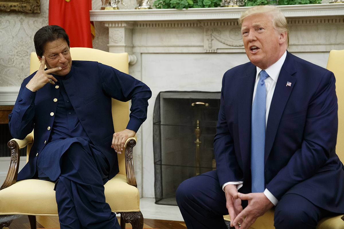 President Donald Trump speaks during a meeting with Pakistani Prime Minister Imran Khan in the Oval Office of the White House, Monday, July 22, 2019, in Washington. (Alex Brandon/AP)