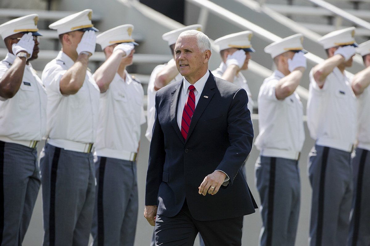 Vice President Mike Pence walks into Michie Stadium during graduation ceremonies at the United States Military Academy, Saturday, May 25, 2019, in West Point, N.Y. (Julius Constantine Motal/AP)