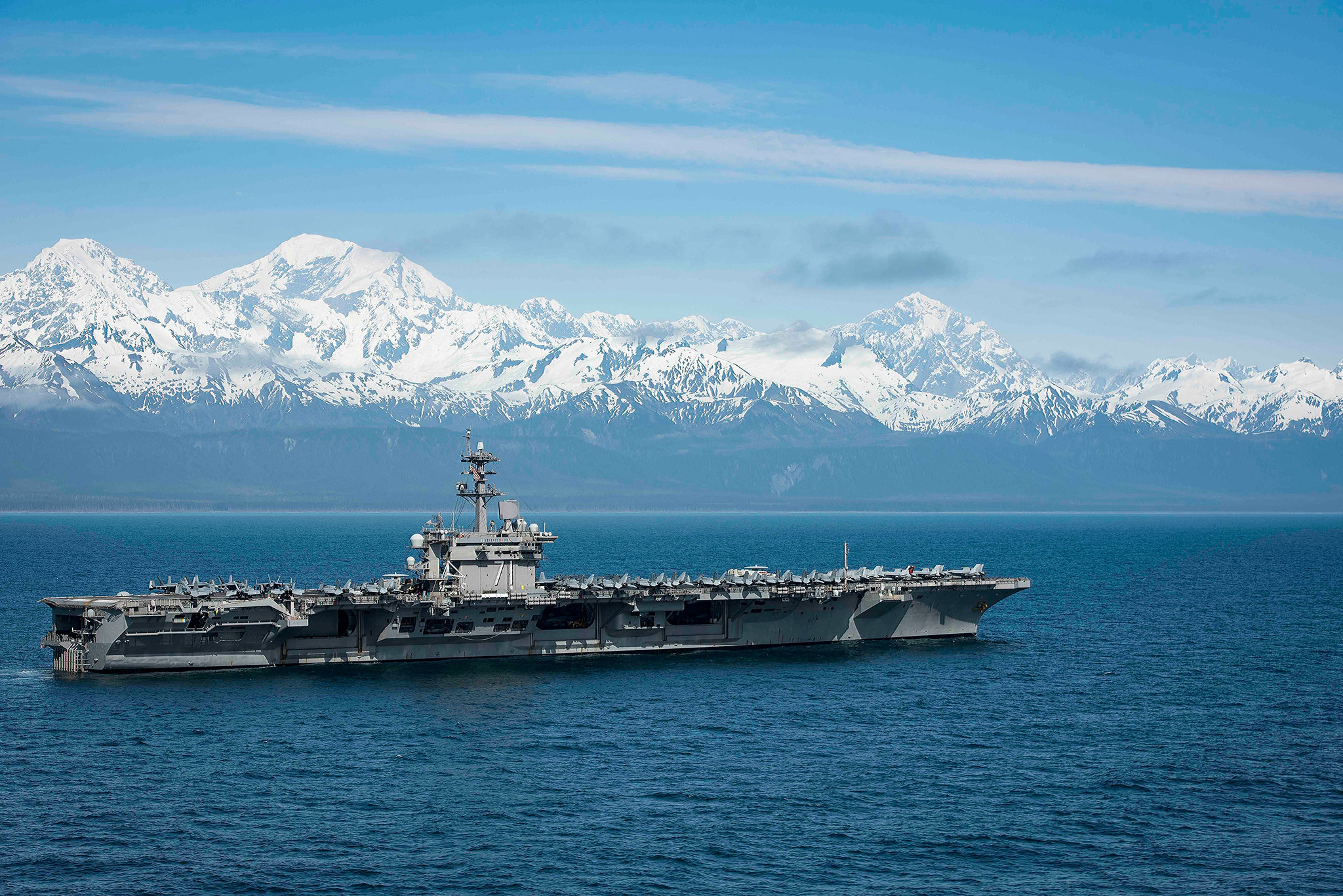 The Nimitz-class aircraft carrier USS Theodore Roosevelt (CVN 71) transits the Gulf of Alaska on May 25, 2019, after participating in Exercise Northern Edge 2019. (Mass Communication Specialist 2nd Class Anthony J. Rivera/Navy)