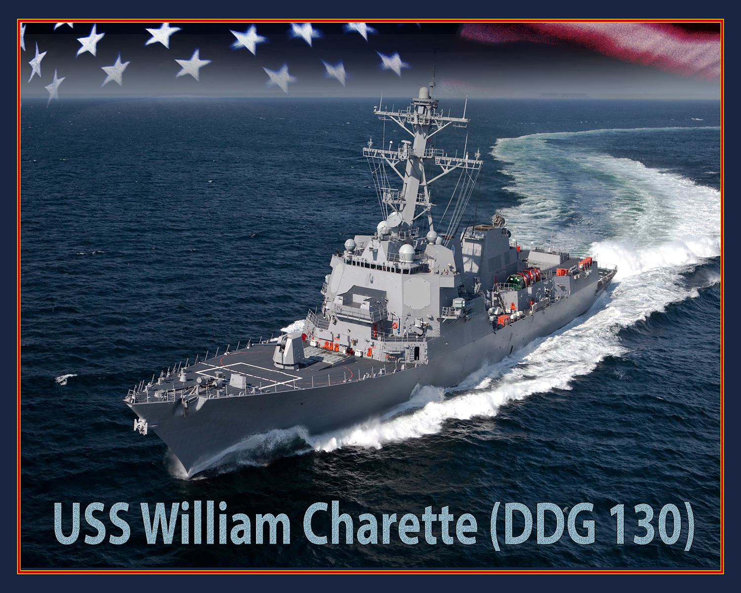 An artist rendering of the future Arleigh Burke-class guided-missile destroyer USS William Charette (DDG 131). (U.S. Navy photo illustration)