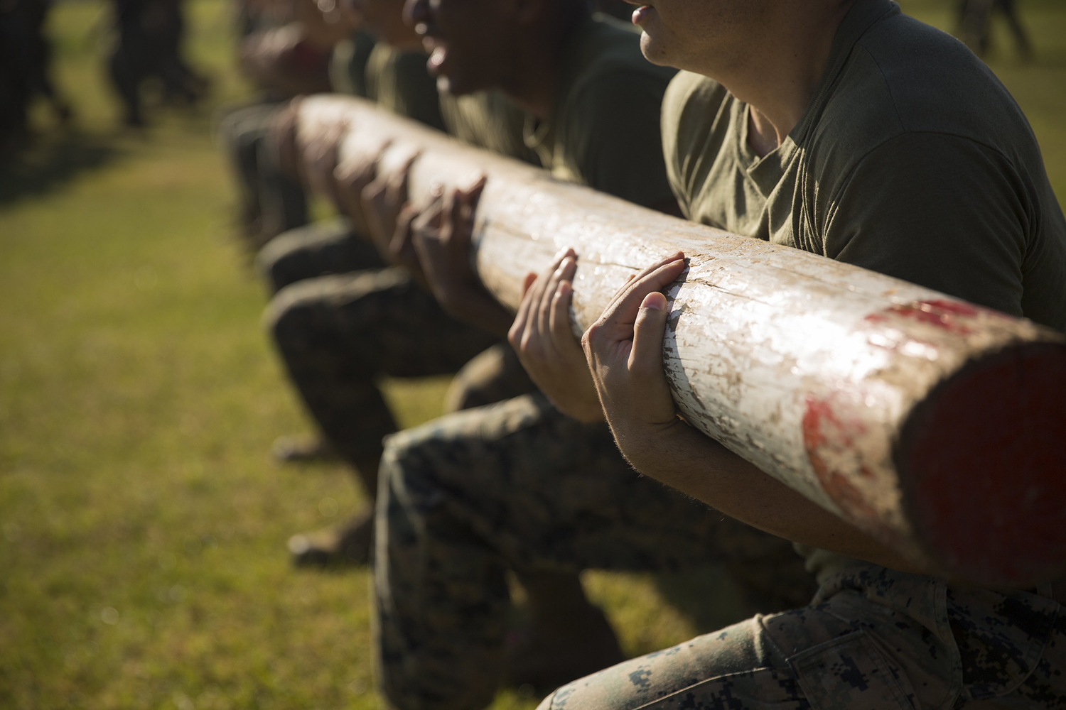 U.S. Marines with the Logistics Combat Element (LCE), Marine Rotational Force – Darwin (MRF-D), conduct log lunges during a field meet at Robertson Barracks, Darwin, Australia, July 22, 2019. (Staff Sgt. Jordan E. Gilbert/Marine Corps)