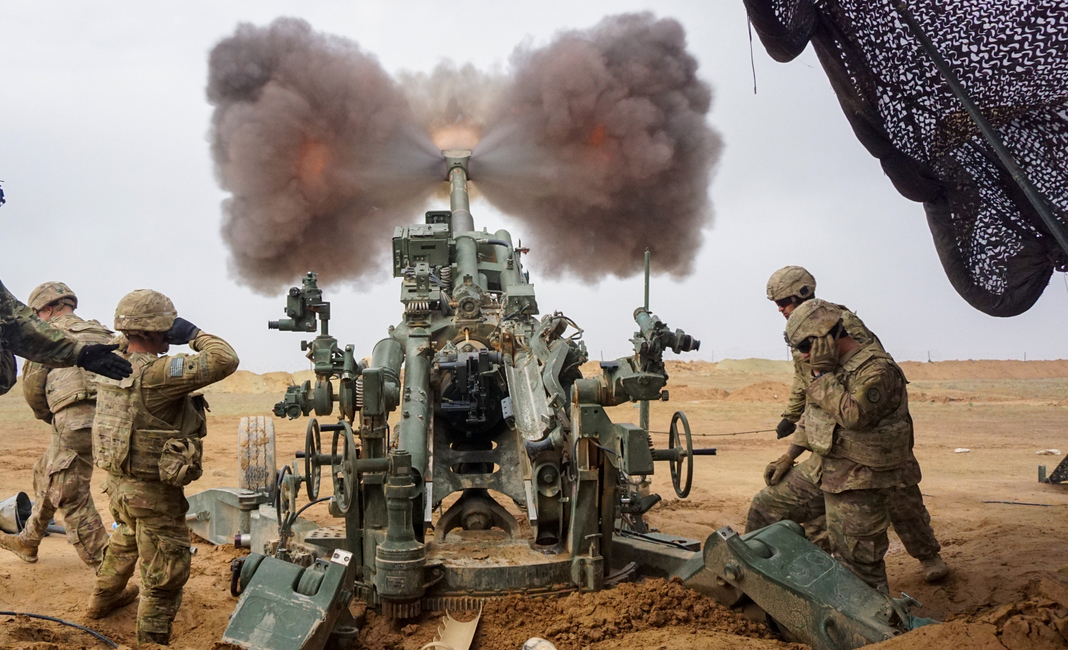 U.S. Army troopers assigned to the Field Artillery Squadron, 3rd Cavalry Regiment, fire their M777 Howitzer on Firebase Saham, Iraq, Dec. 3, 2018. The 3rd Cav. Regt. is deployed in support of Operation Inherent Resolve, working by, with and through the Iraqi Security Forces and Coalition partners to defeat ISIS in areas of Iraq and Syria.