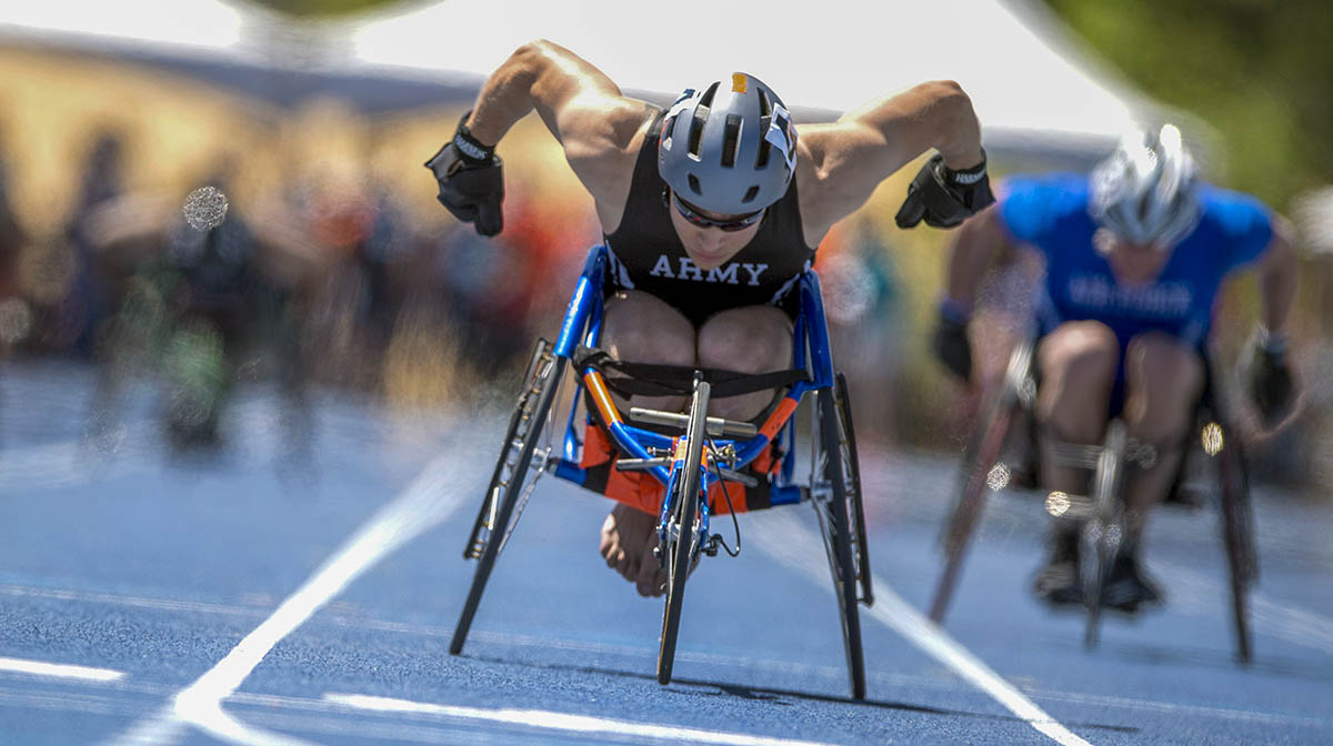 Team Army's Sgt. John Weasner finishes a wheelchair race during the 2018 Warrior Games at the Air Force Academy in Colorado Springs, Colo. June 2, 2018. (EJ Hersom/DoD photo)