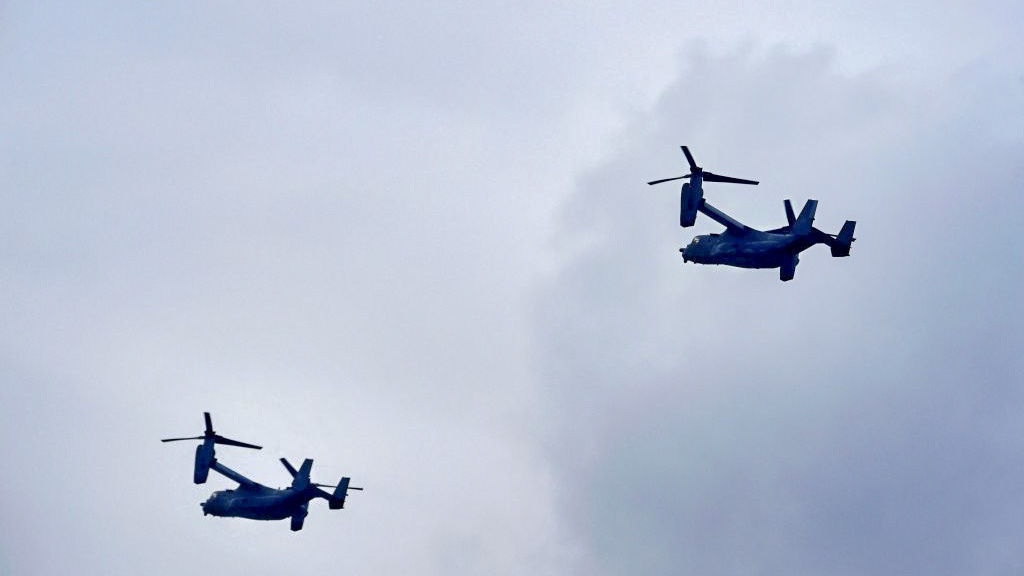 U.S. CV-22B airplanes fly over Budapest during a training of Hungarian and US Special Operations Forces on October 29, 2019, one day before the Russian President will pay his one-day official visit to the Hungarian capital. (ATTILA KISBENEDEK/AFP via Getty Images)