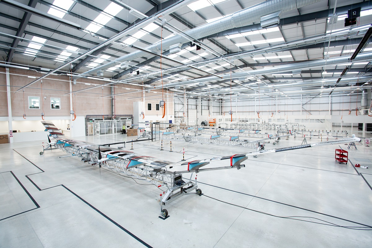 Airbus started series production of the Zephyr S high altitude pseudo-satellite at a new facility about 200 yards from where Farnborough 2018 was being held. (Airbus)