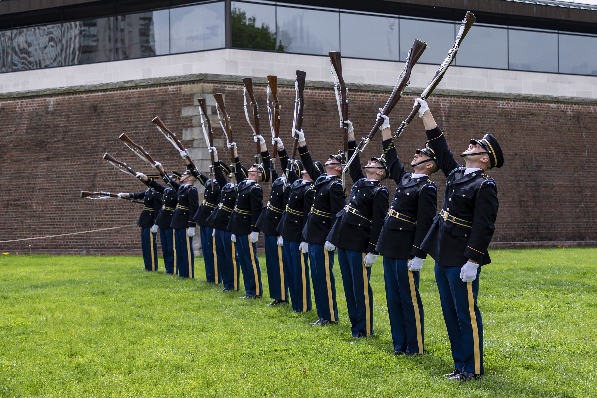 Soldiers with the U.S. Army Drill Team, 3d U.S. Infantry Regiment (The Old Guard), conduct a performance during the Meet Your Army event at Point State Park, Pittsburgh, Pa., May 4, 2019. (Staff Sgt. Dalton Smith/Army)