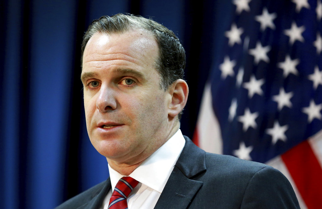 Brett McGurk, the former U.S. envoy for the global coalition against IS, speaks during a news conference at the U.S. Embassy Baghdad, Iraq. (Hadi Mizban/AP)