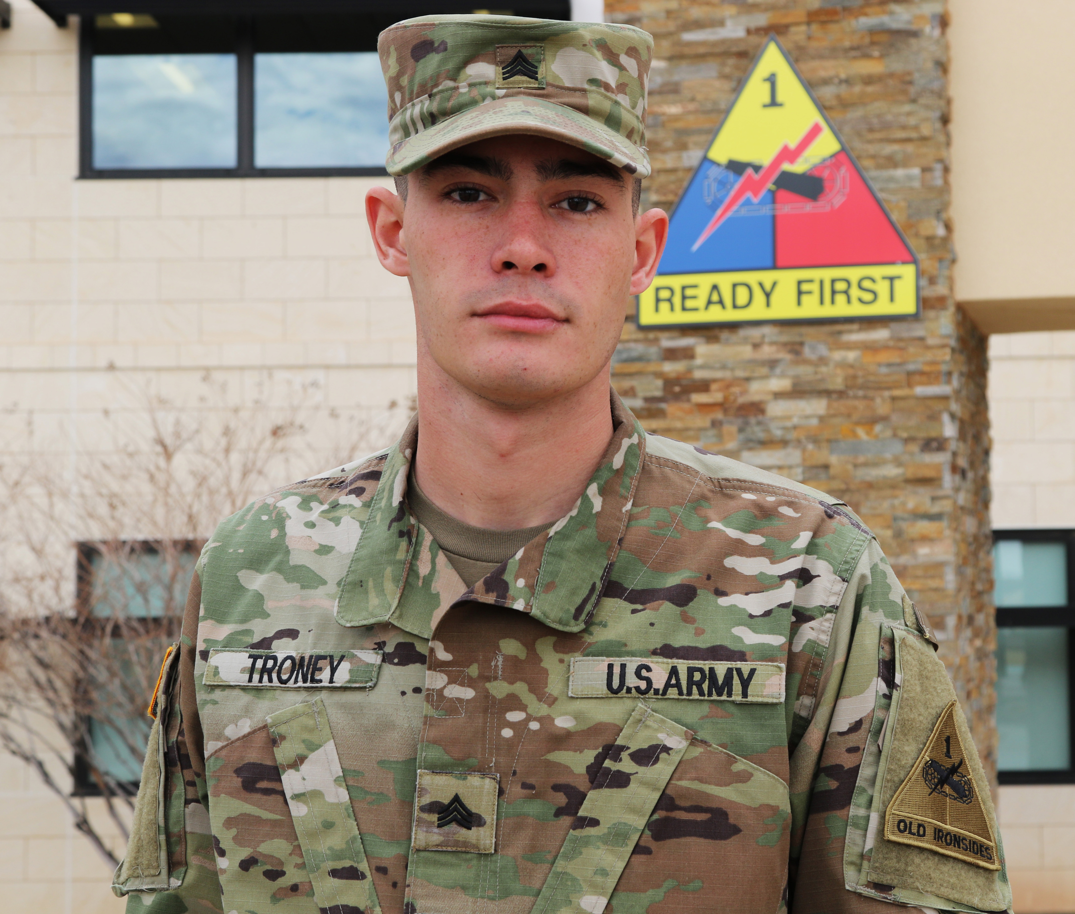 Sgt. Trey Troney, a field artillery cannon crewmember assigned to 2nd Battalion, 3rd Field Artillery Regiment, 1st Stryker Brigade Combat Team, 1st Armored Division, is under investigation after questions arose about whether he lied about saving a man after a traffic accident on Interstate 20 near Sweetwater, Texas, Dec. 22, 2018. (Staff Sgt. Killo Gibson/Army)