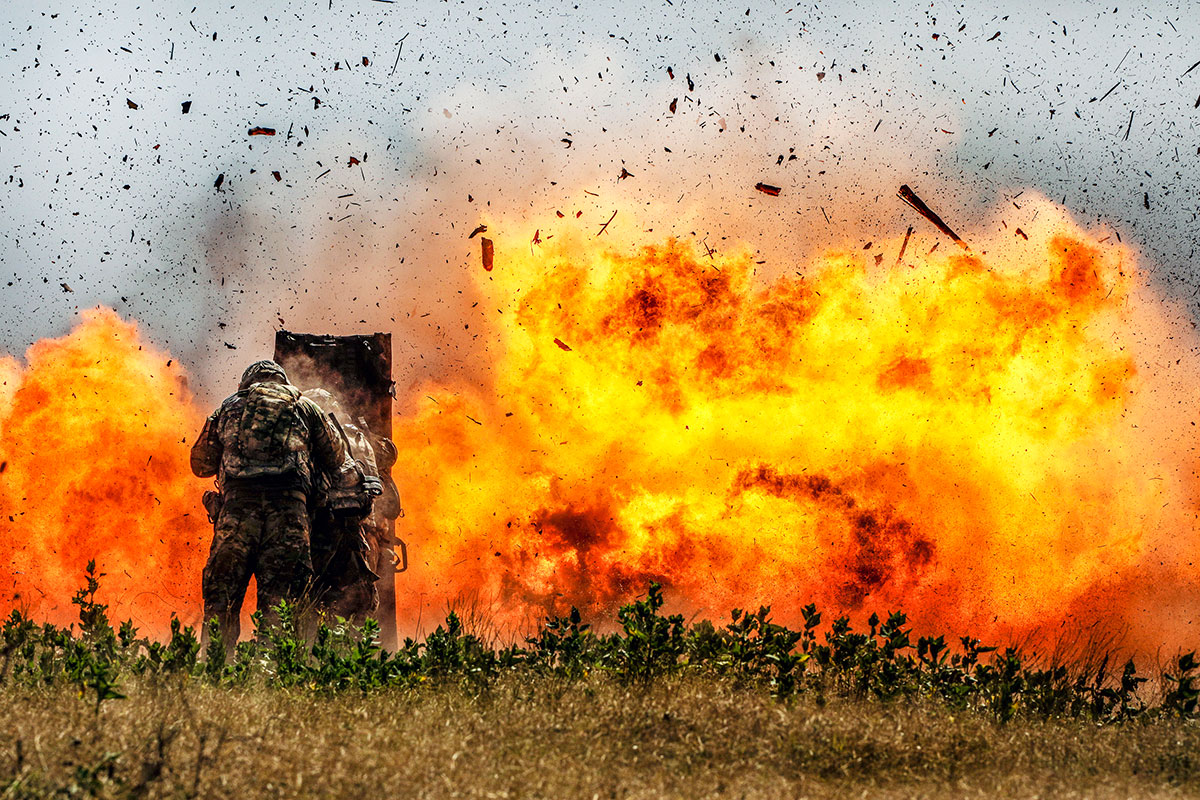 Combat engineers from the 2nd Armored Brigade Combat Team, 1st Cavalry Division, blast through a concrete wall during demolition training at Fort Hood, Texas, July 17, 2018. (U.S. Army photo by Maj. Carson Petry)