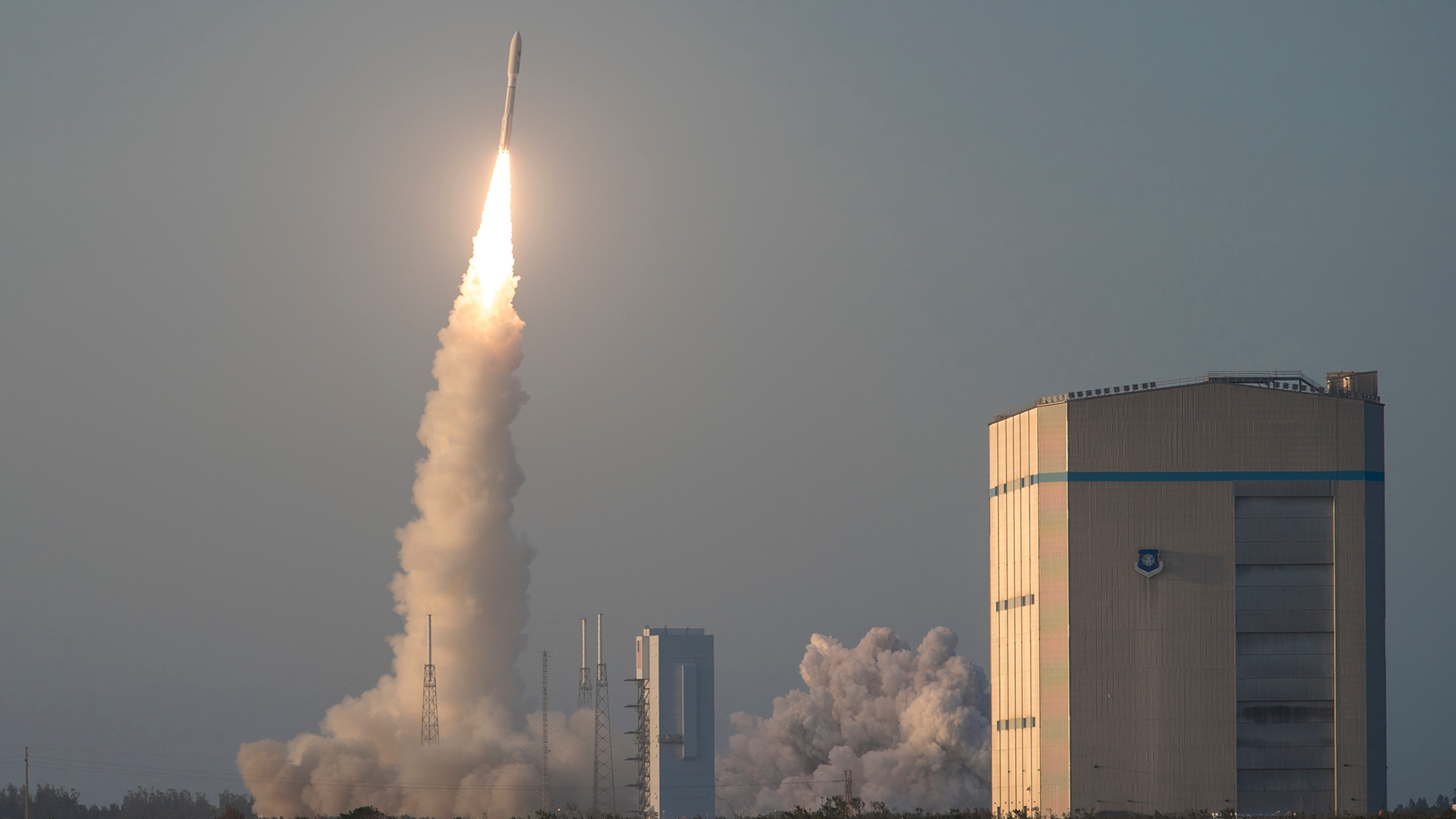 A United Launch Alliance Atlas V rocket launches into the air at Cape Canaveral Air Force Station, Florida, April 14, 2018. (Staff Sgt. Christopher Stoltz/U.S. Air Force)