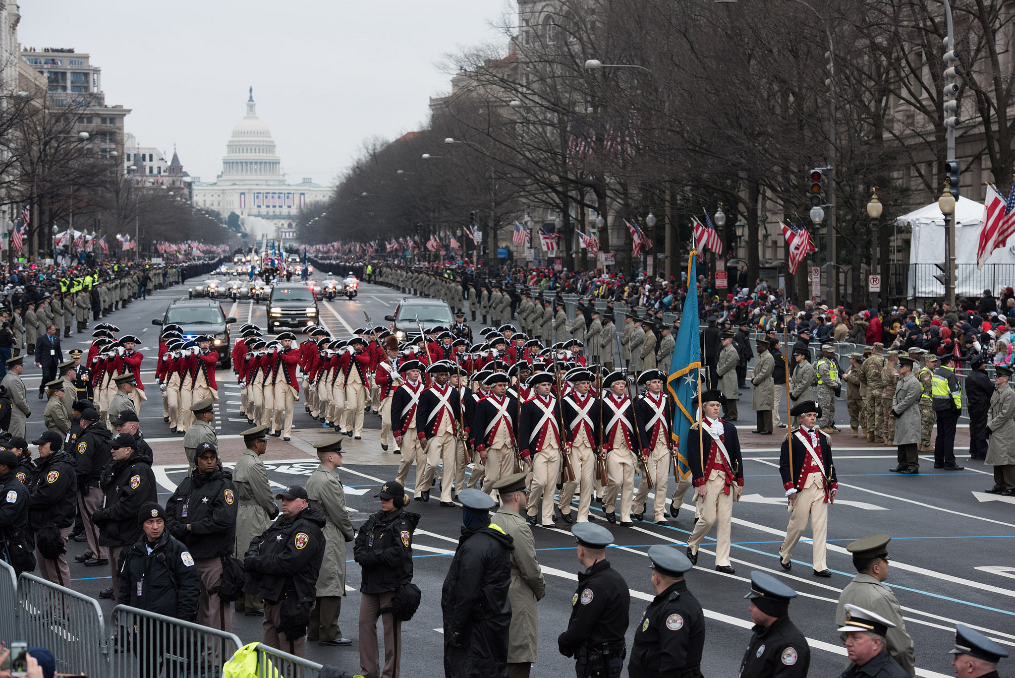 Soldiers from 3d U.S. Infantry Regiment and service members from the Department of Defense participate in the 58th presidential inauguration and parade Jan. 20, 2017. President Donald Trump is eyeing Veterans Day for a military parade. (Army)