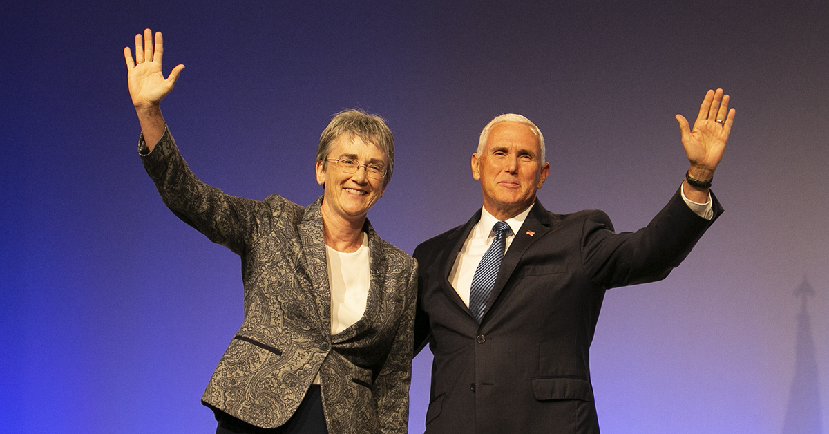 Air Force Secretary Heather Wilson introduces Vice President. Mike Pence, who made a surprise visit during the Air Force Association's Air, Space & Cyber conference held at the Gaylord National Resort & Conference Center in Oxon Hill, MD. (Alan Lessig/Staff)