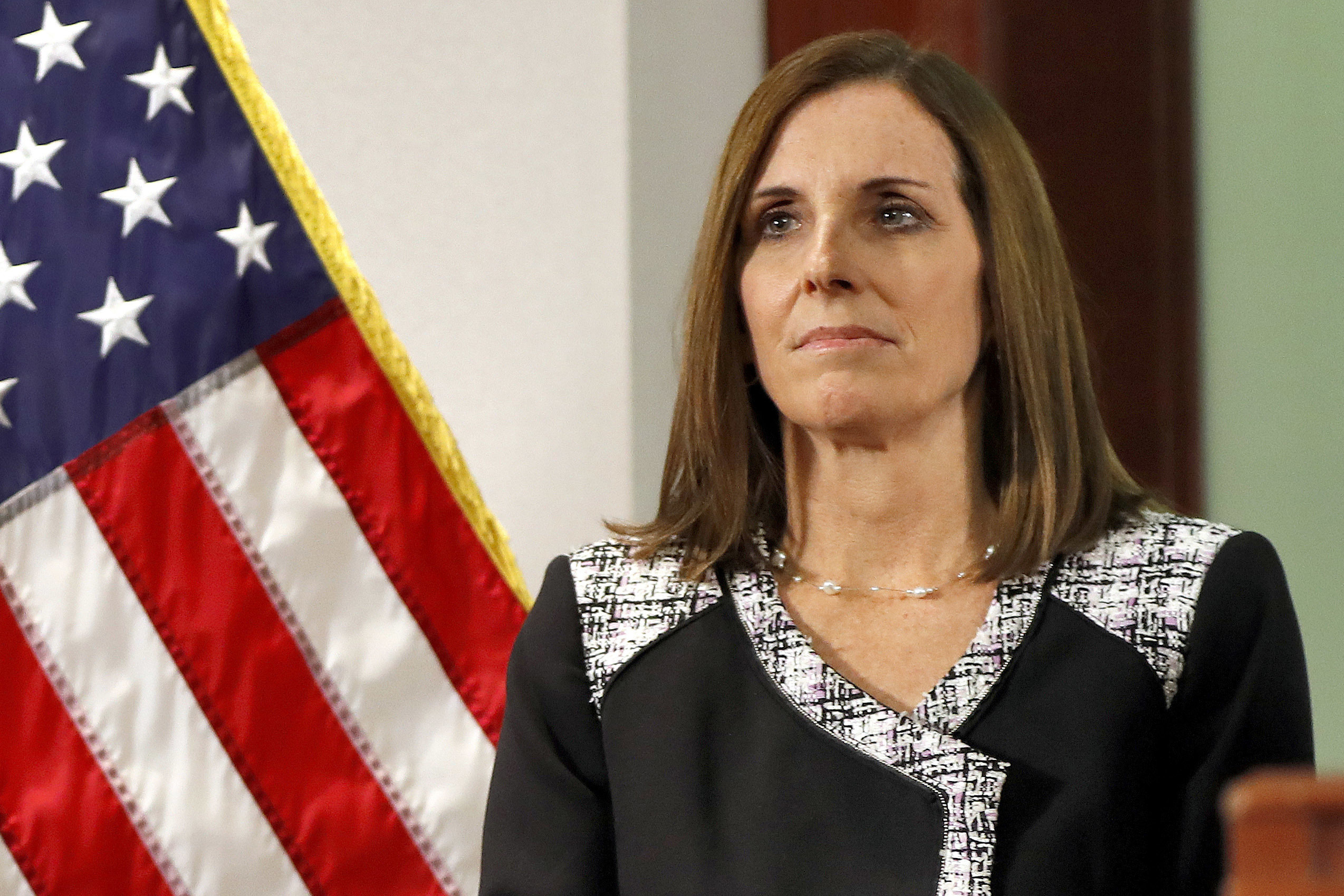 Sen. Martha McSally, R-Ariz., is shown before a December 2018 news conference in Phoenix. (Matt York/AP)