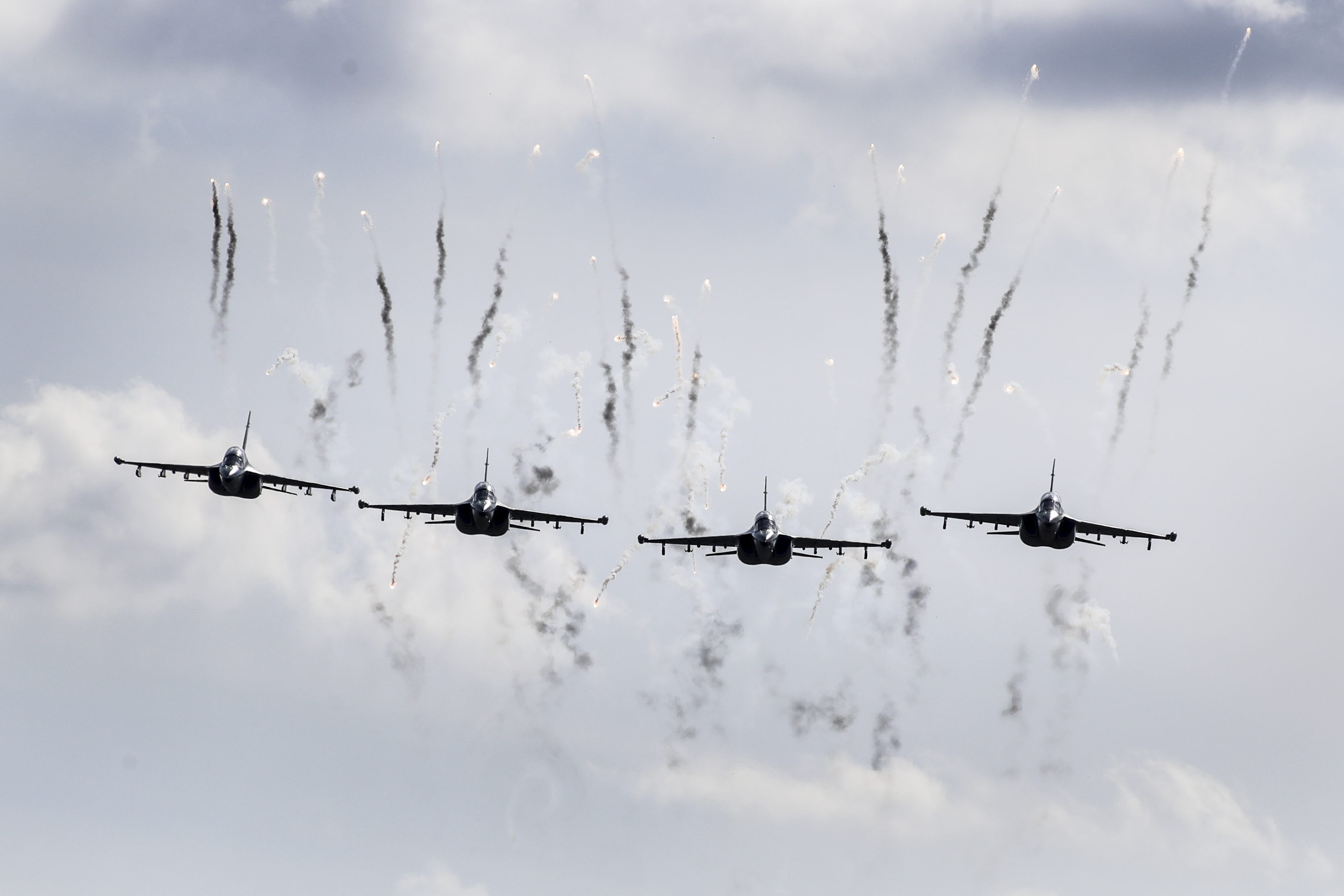 Belarusian military jets fly during military exercises. The Zapad 2017 military drills are held jointly by Russian and Belarusian militaries at several firing ranges in both countries. (Sergei Grits/AP)