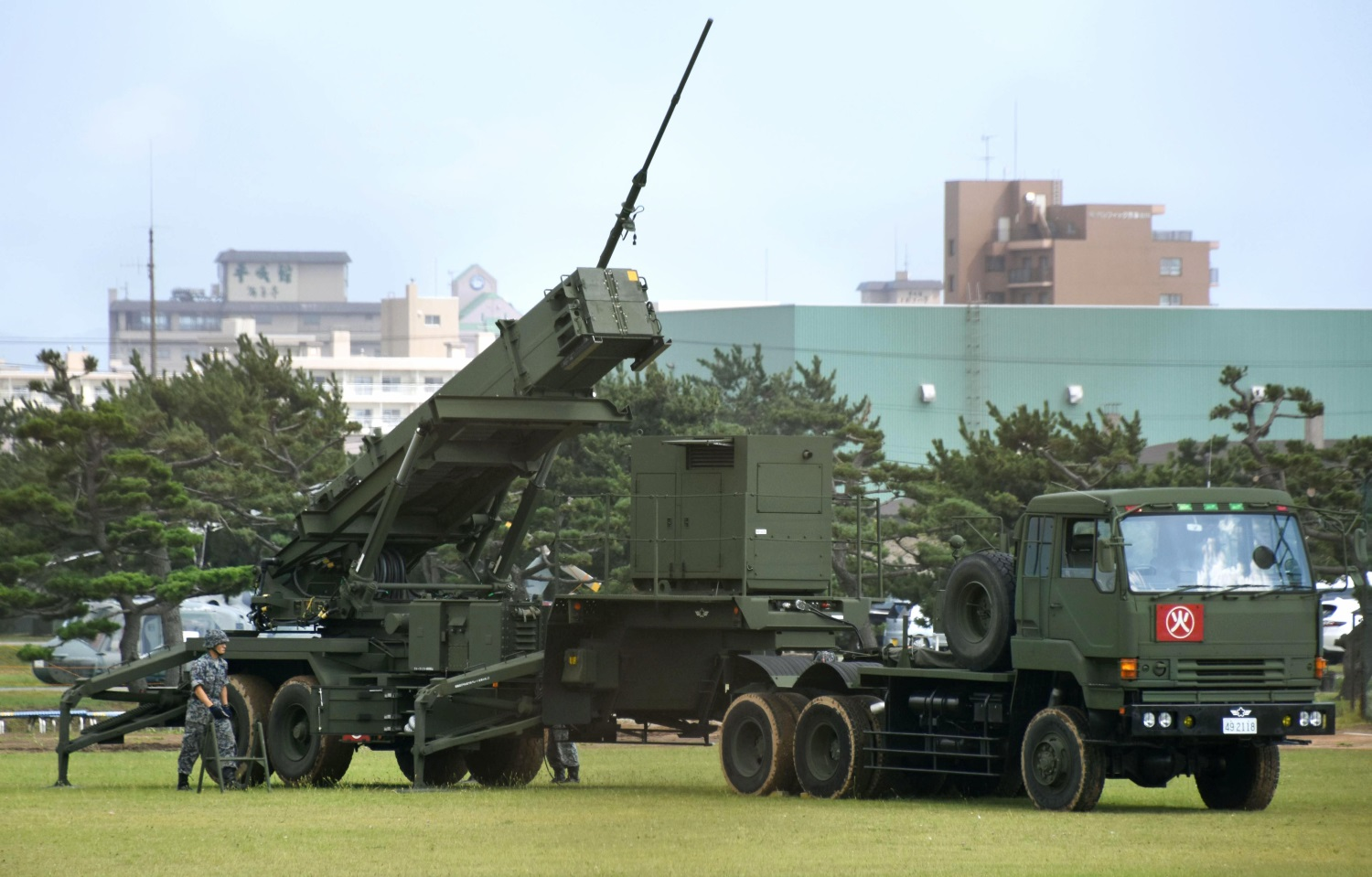 Patriot Advanced Capability-3 interceptor missile system (PAC3) is deployed at the Hakodate base of Japan's Self-Defense Forces on Sept. 19, 2017, in Hakodate, northern Japan. (Kyodo News via AP)