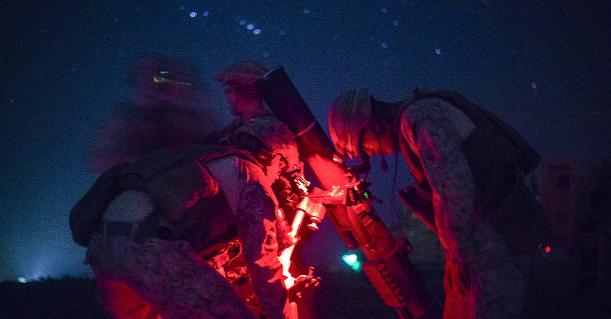 Marines with Task Force Southwest set up an M121 120 mm mortar system during a security patrol near Bost Airfield. The patrol allowed Marines to assist the Afghan National Defense and Security Forces through the use of mortar illumination rounds, enabling the ANDSF to continue to provide security and conduct combat operations in Helmand province. (Sgt. Sean J. Berry/Marine Corps)