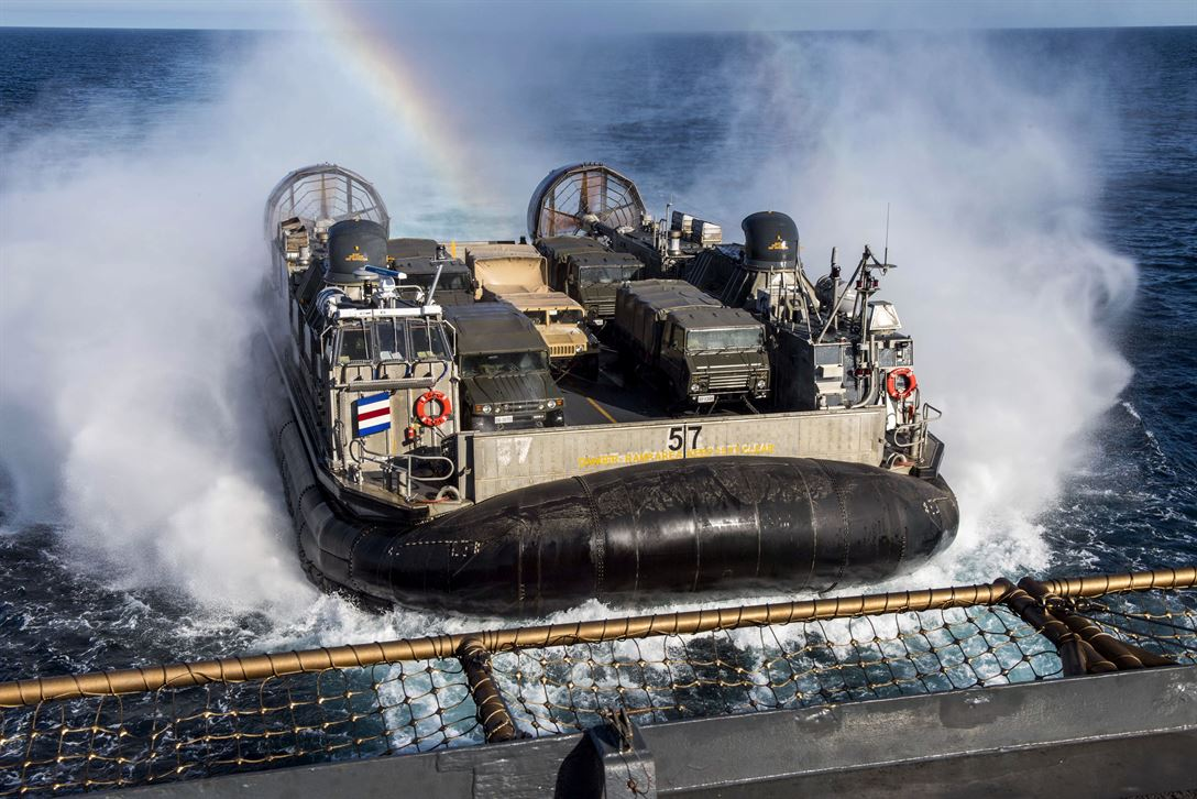 An air-cushioned landing craft approaches the USS Rushmore during Iron Fist 2018 off Southern California in the Pacific Ocean, Feb. 3, 2018. Navy photo by Petty Officer 3rd Class Reymundo A. Villegas III