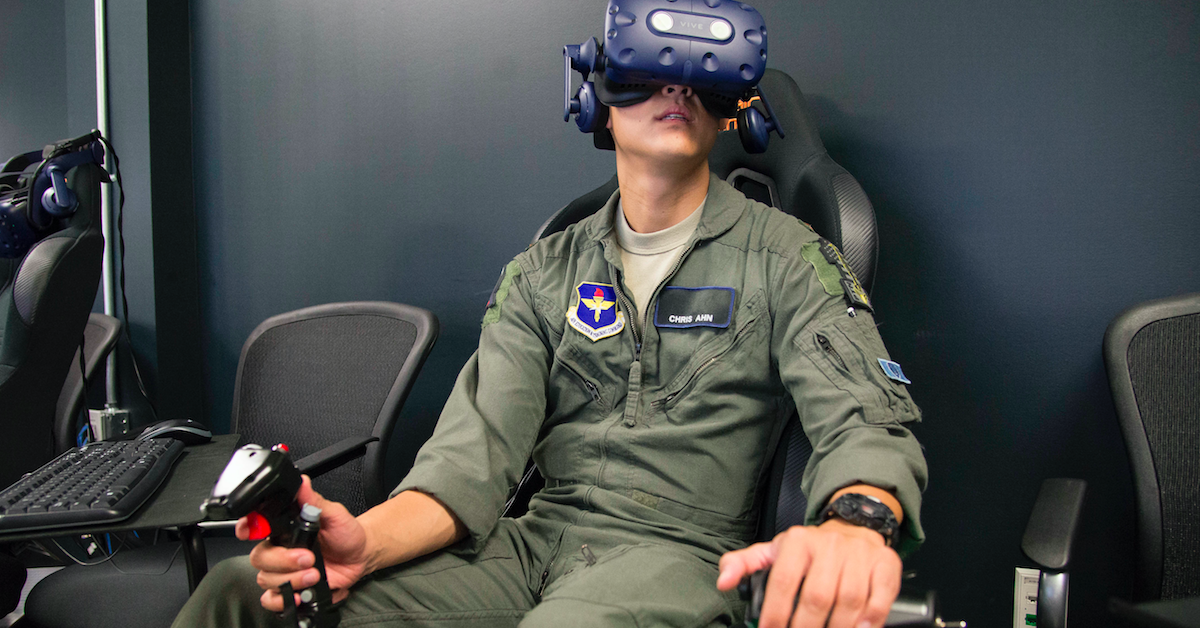 U.S. Air Force 2nd Lt. Christopher Ahn trains on a virtual reality flight simulator at the Armed Forces Reserve Center in Austin, Texas, on June 21, 2018. (Sean M. Worrell/U.S. Air Force)
