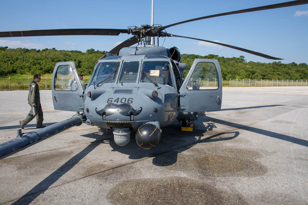 An HH-60G of the 33rd Rescue Squadron on Kadena Air Base, Japan, is prepped for takeoff. (Jeff Martin/Staff)