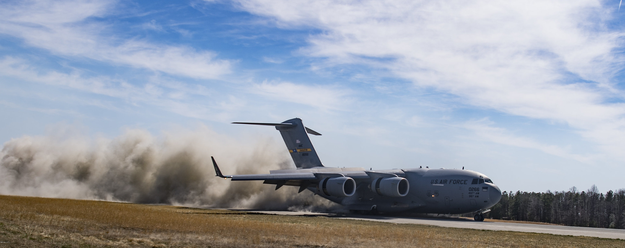 A U.S. Air Force C-17 Globemaster III conducts semi-prepared runway operations training after takeoff from Joint Base Charleston, S.C., March 27, 2019. (Tech. Sgt. Gregory Brook/Air Force))