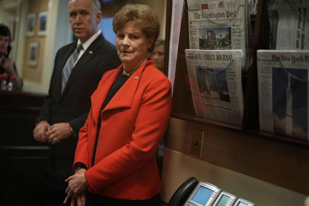 Sens. Jeanne Shaheen, D-N.H., right, and Thom Tillis, R-N.C., are co-leaders of the recently revived NATO Observer Group. (Alex Wong/Getty Images)