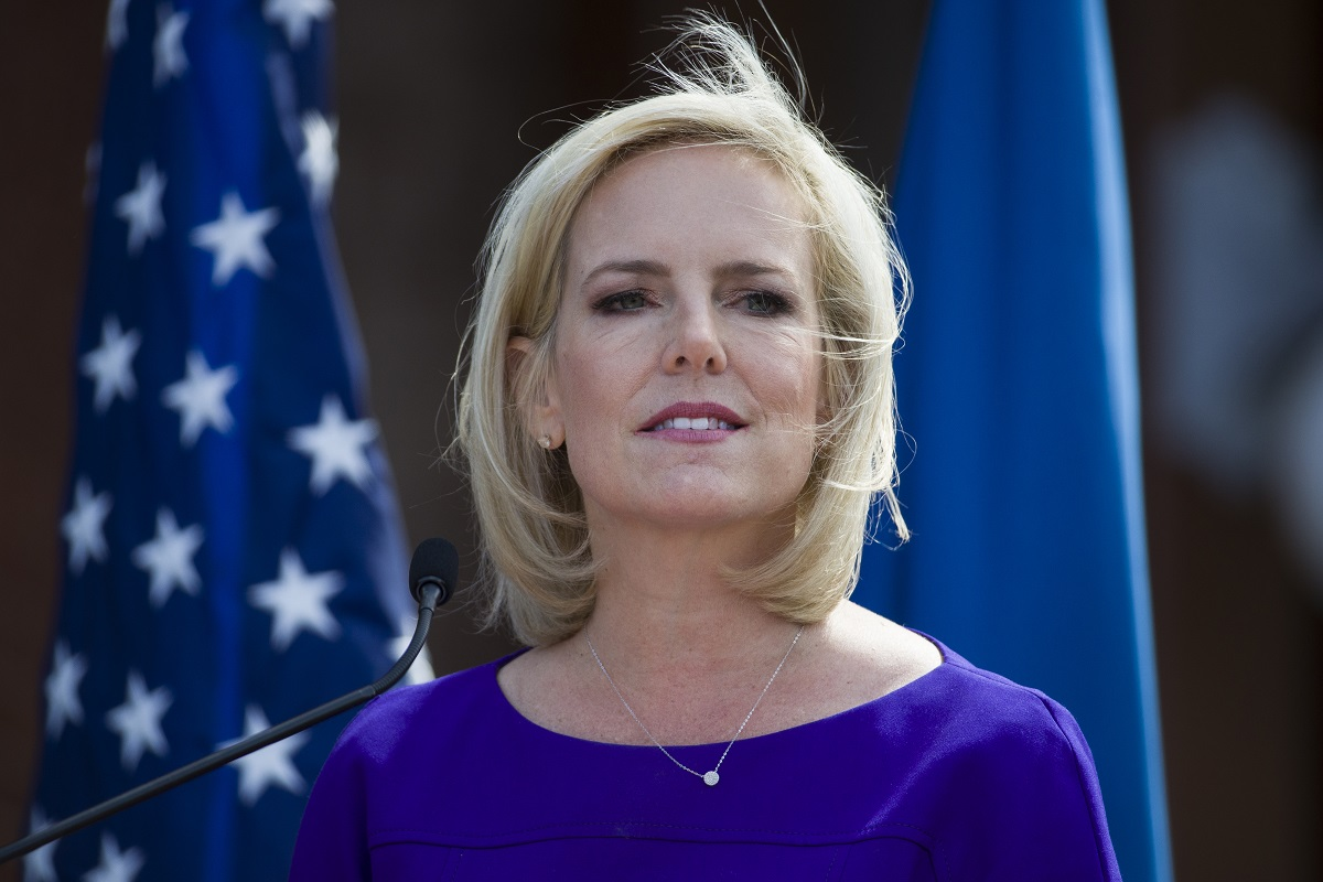 In this April 10, 2019, photo, outgoing Homeland Security Secretary Kirstjen Nielsen speaks at the dedication ceremony at the Homeland Security headquarters Center Building at the old St. Elizabeths Hospital in Washington. Nielsen was told by President Donald Trump's chief of staff not to bring up election security in meetings with the president, but she continued to push the issue with administration and international leaders despite the lack of White House coordination. That's according to people familiar with the matter. Nielsen, who resigned in April, had made cybersecurity a focus of her tenure there. (Alex Brandon/AP)