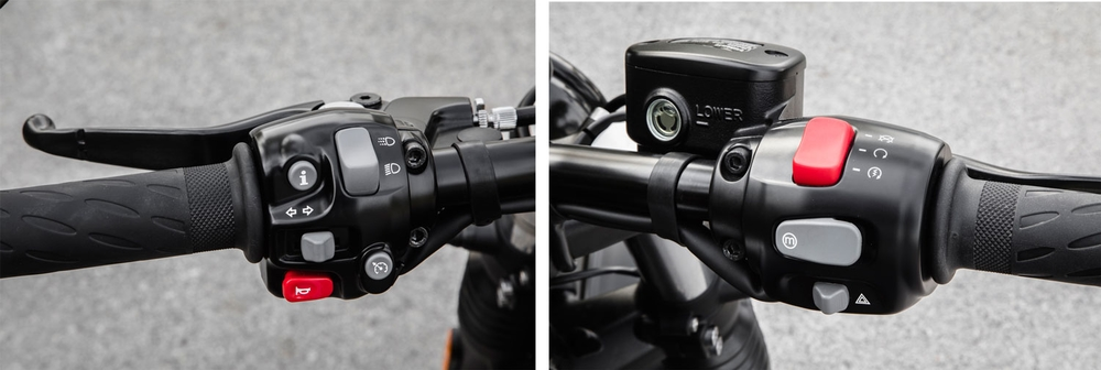Left:See that button on the bottom right of the left switch assembly? That's the built-in cruise control button: One press arms it, and the second press sets the speed at the current pace you're going. You can touch either the front or rear brake, push the cruise button a third time, or blip the throttle to disable it. Right: The right-side throttle grip is uncluttered, featuring only start/kill switch, mode button, and hazard light switch. (Triumph Motorcycles)