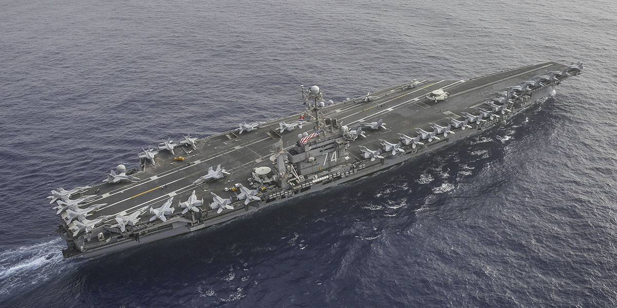 MEDITERRANEAN SEA (April 24, 2019) The aircraft carrier John C. Stennis and her strike group sails with the Abraham Lincoln in the U.S. 6th Fleet. (Mass Communication Specialist 1st Class Brian M. Wilbur/Navy)